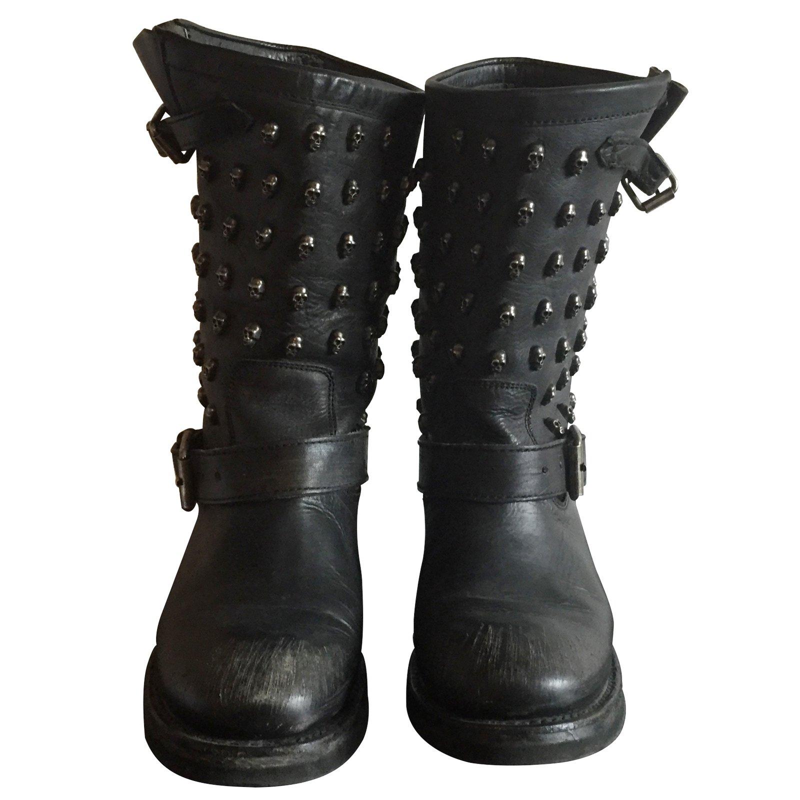 bottes ash boots motardes ash cuir noir joli closet. Black Bedroom Furniture Sets. Home Design Ideas