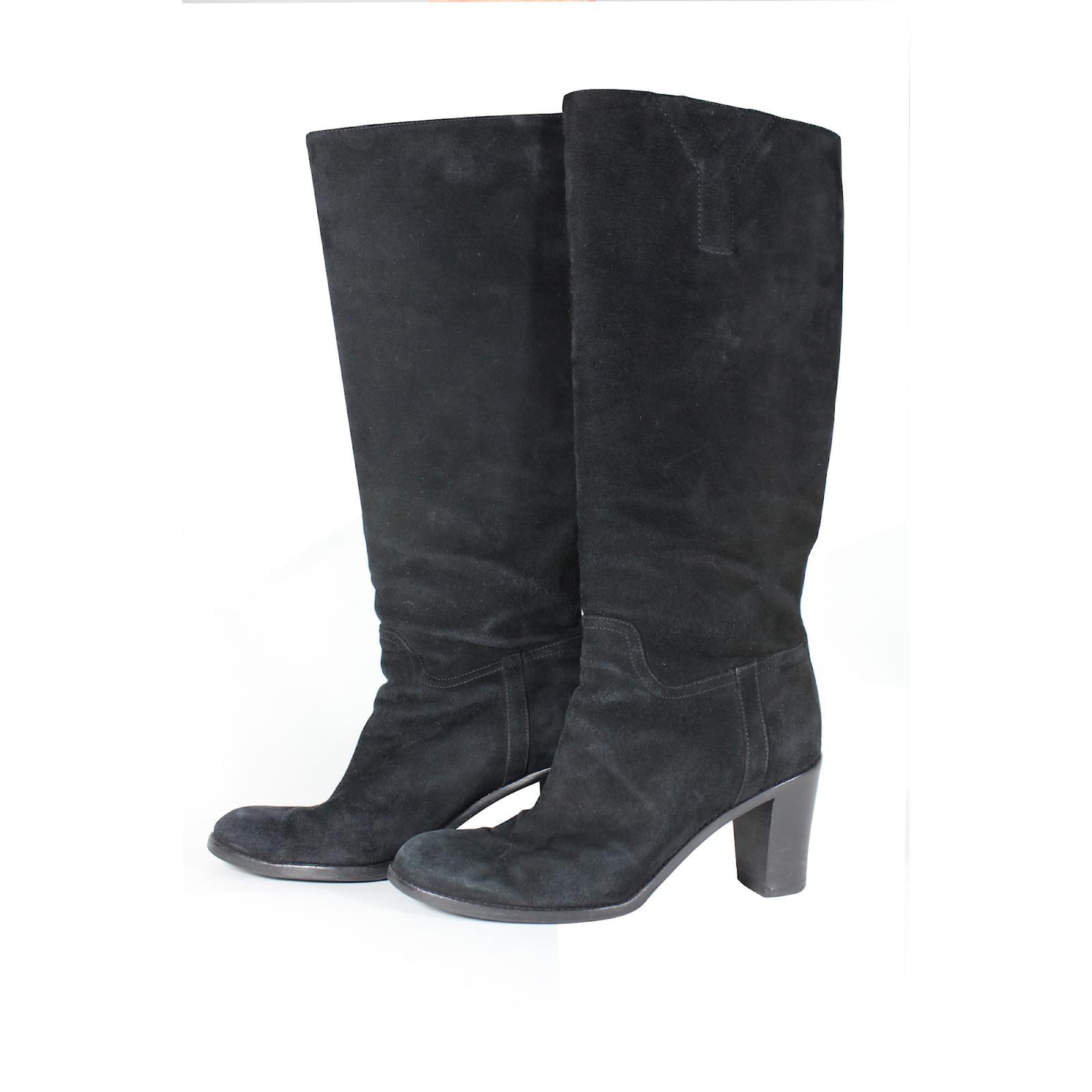 bottes yves saint laurent bottes suede noir. Black Bedroom Furniture Sets. Home Design Ideas