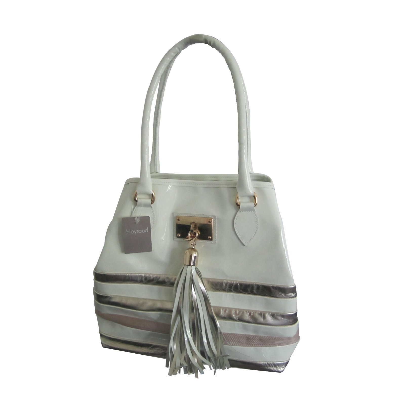 sacs main autre marque sac main heyraud cuir vernis blanc joli closet. Black Bedroom Furniture Sets. Home Design Ideas