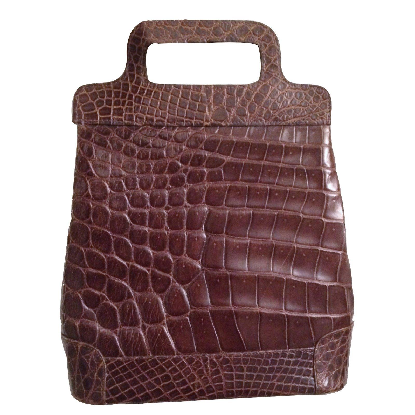 sacs main autre marque sac vintage crocodile cuirs exotiques marron joli closet. Black Bedroom Furniture Sets. Home Design Ideas