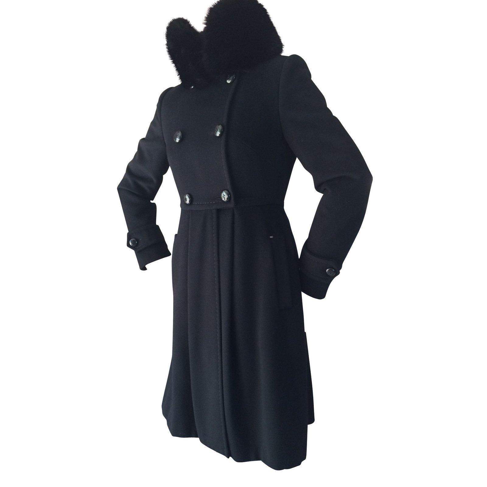 manteaux sportmax manteaux laine noir joli closet. Black Bedroom Furniture Sets. Home Design Ideas