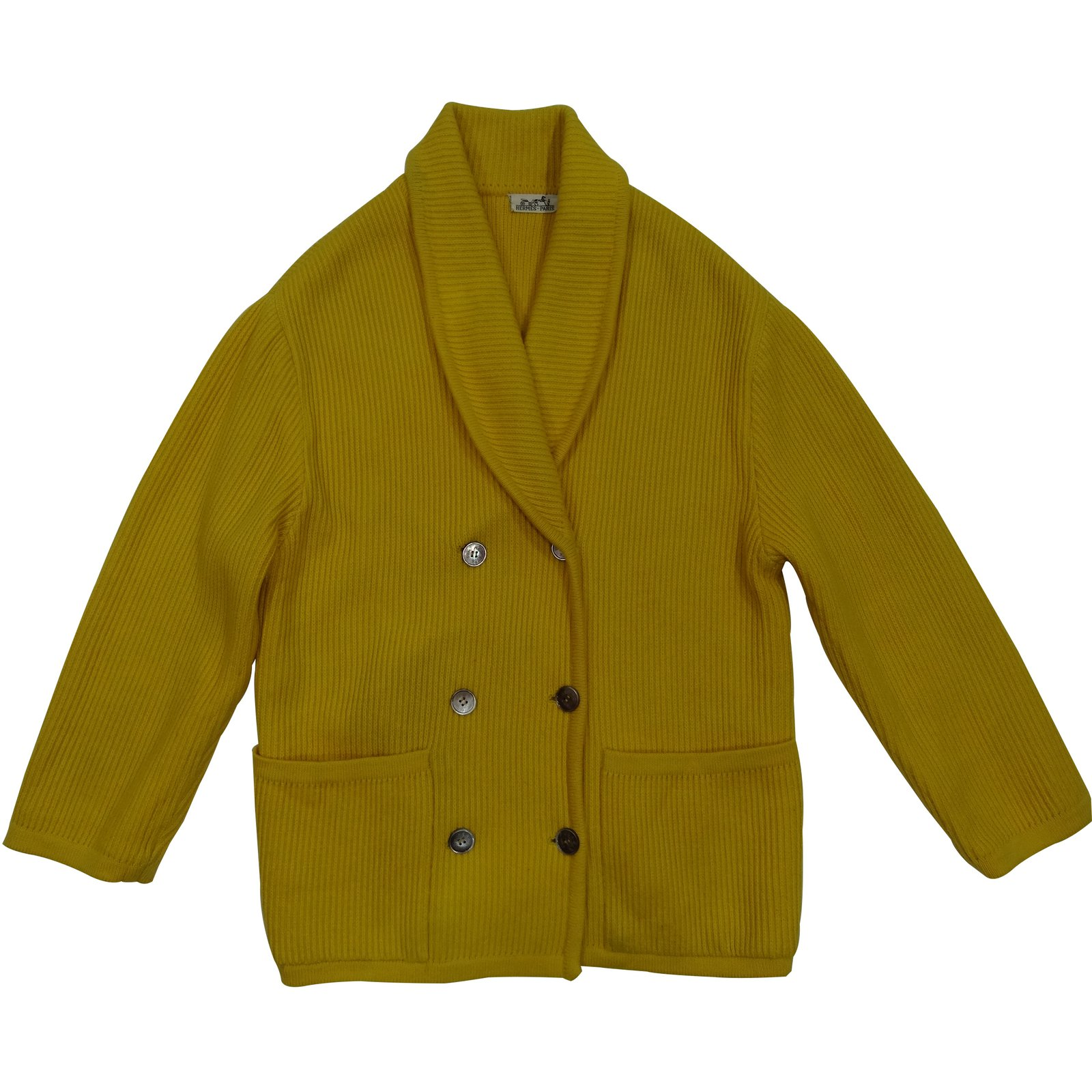 Gilet long laine jaune