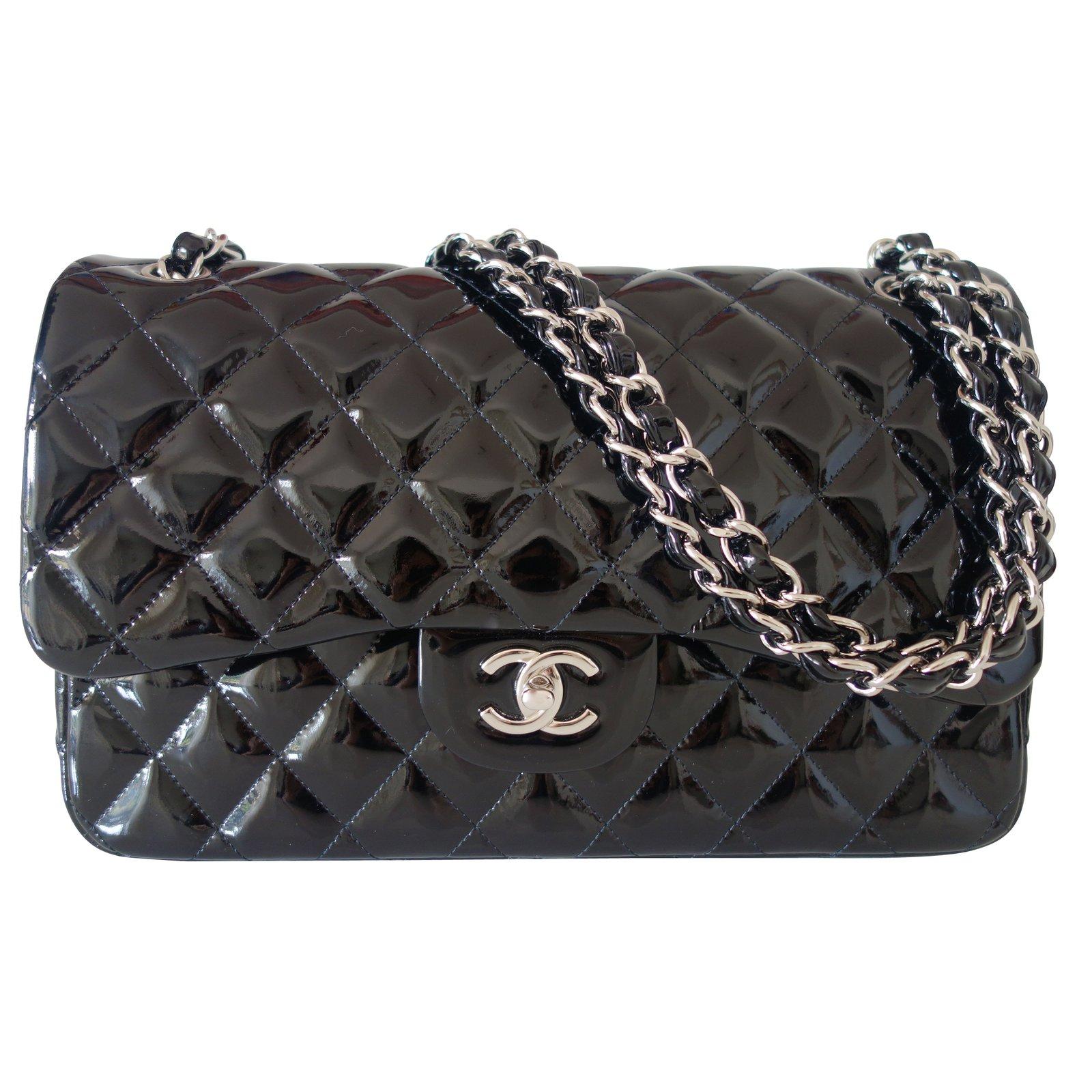 sacs main chanel timeless cuir vernis noir joli closet. Black Bedroom Furniture Sets. Home Design Ideas