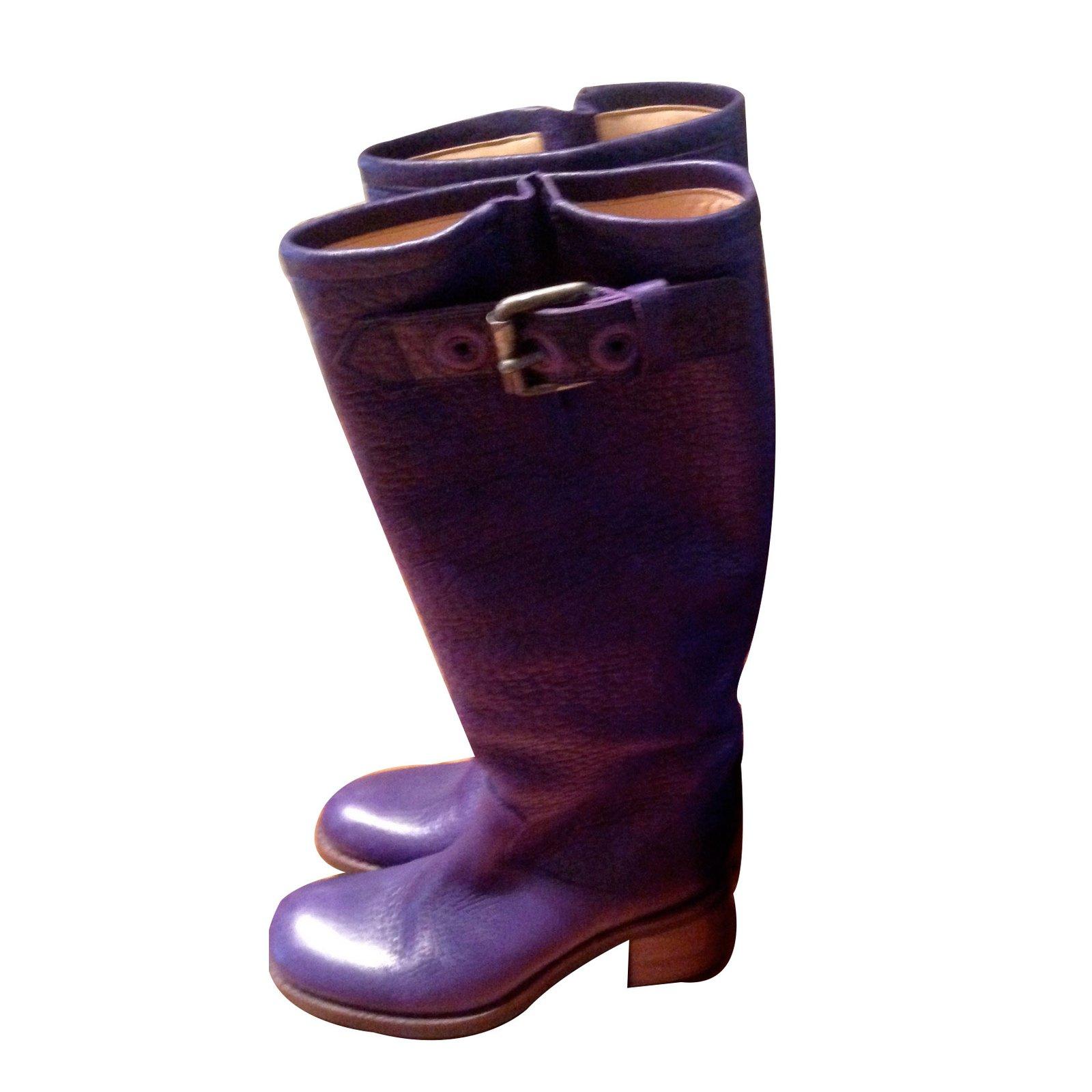 bottes free lance geronimo7 cuir violet joli closet. Black Bedroom Furniture Sets. Home Design Ideas