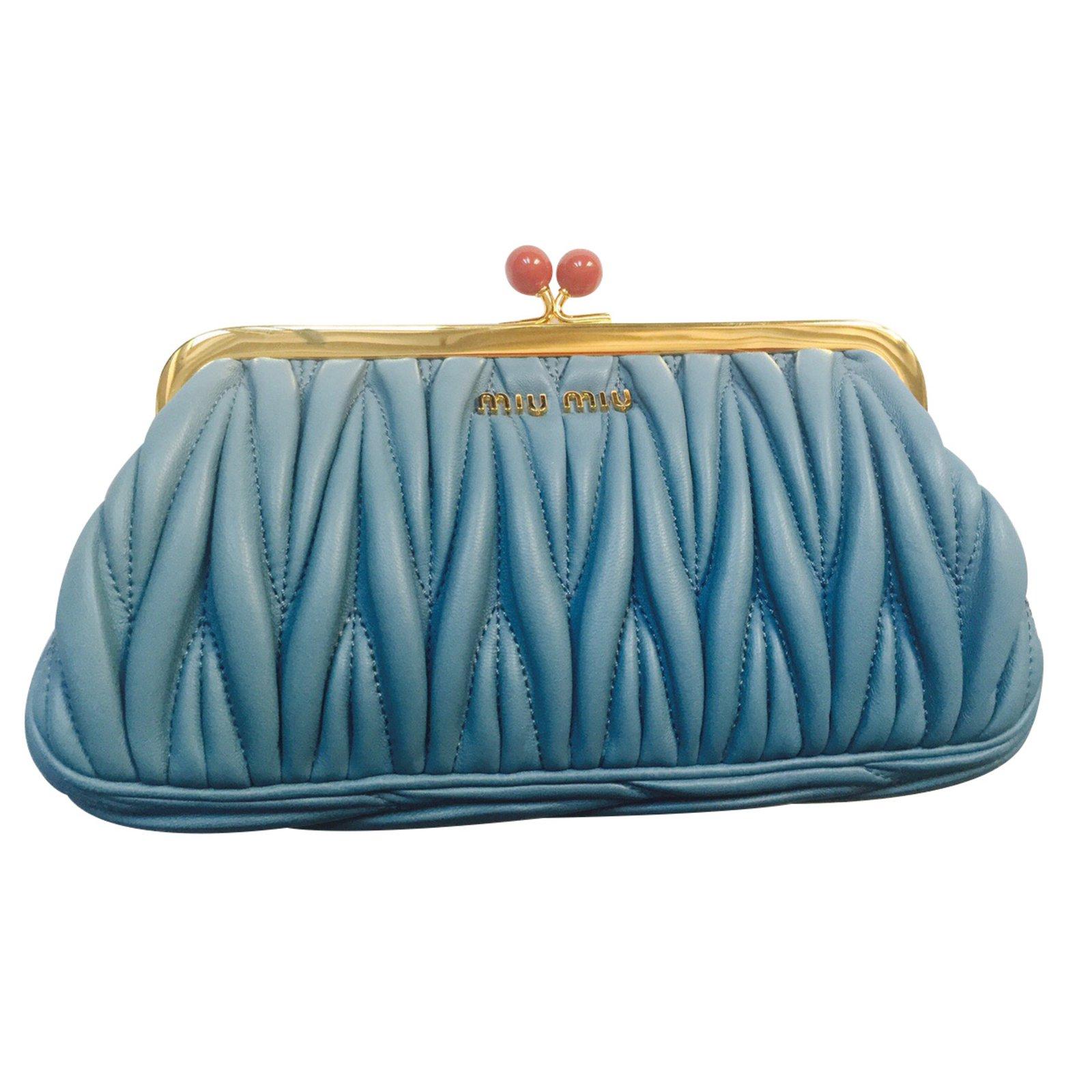 Miu Clutch Bags Leather Blue Ref 9707