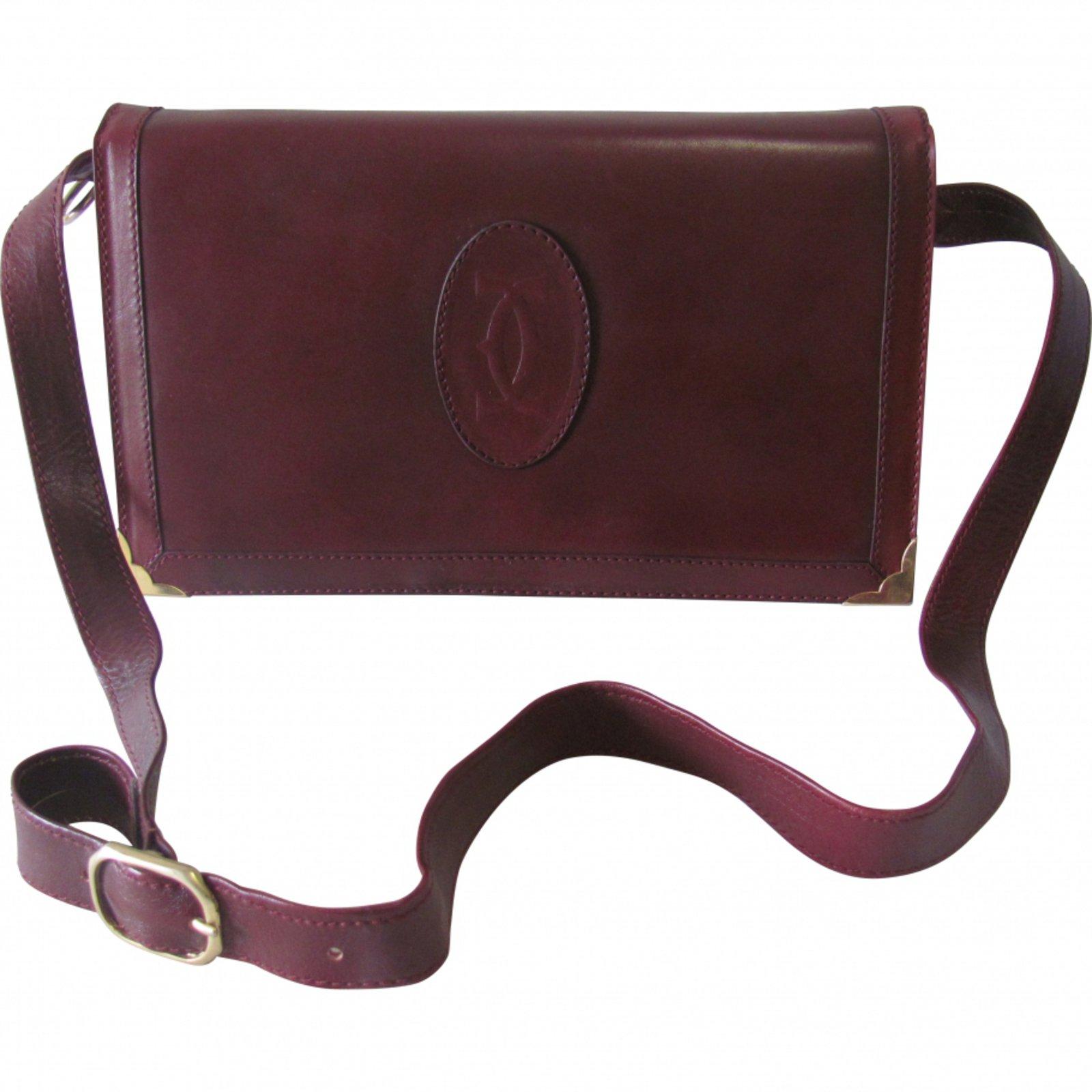 Cartier Handbags Leather Dark Red Ref 10000