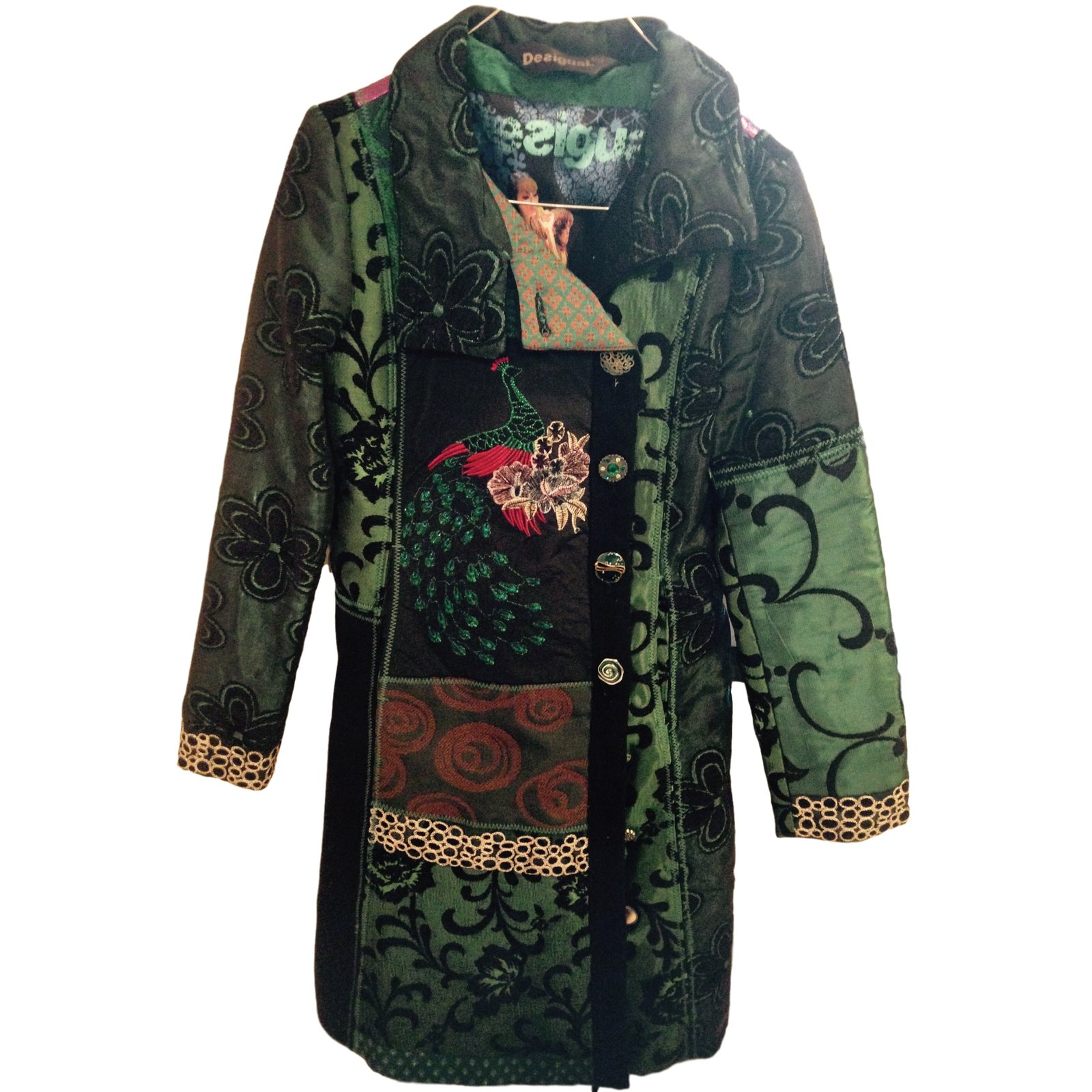 manteaux desigual manteau neuf laine vert joli. Black Bedroom Furniture Sets. Home Design Ideas