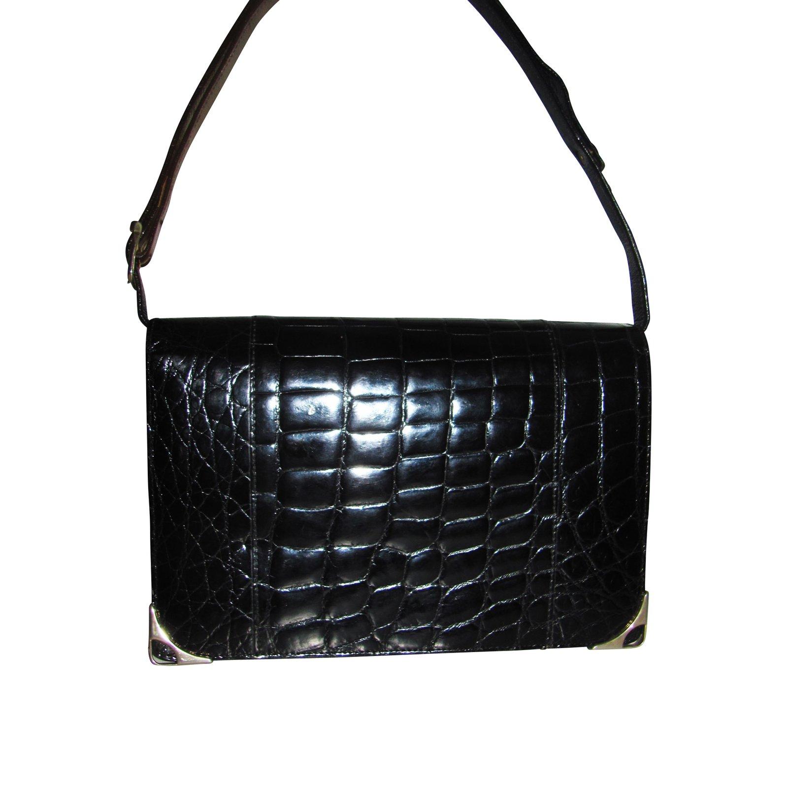 sacs main autre marque sacs main berma cuirs exotiques noir joli closet. Black Bedroom Furniture Sets. Home Design Ideas