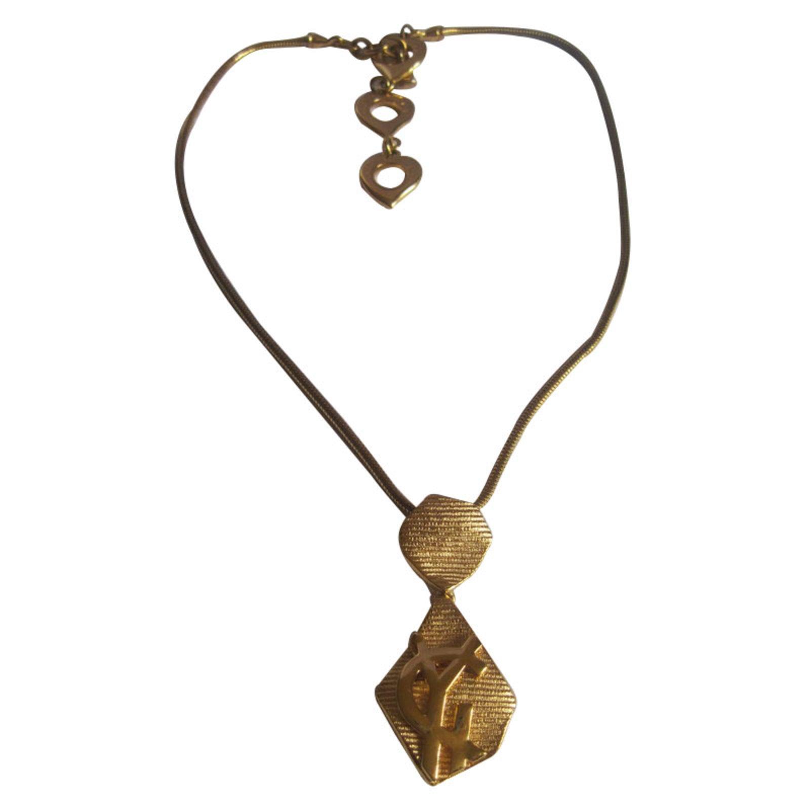 bcf0aa1f5cf Yves Saint Laurent Necklaces Necklaces Metal Golden ref.10943 - Joli ...