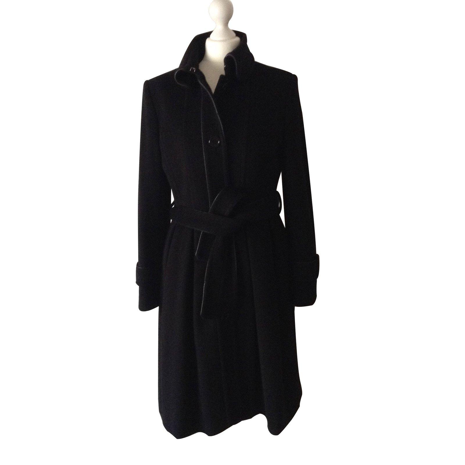 manteaux burberry manteaux laine noir joli closet. Black Bedroom Furniture Sets. Home Design Ideas