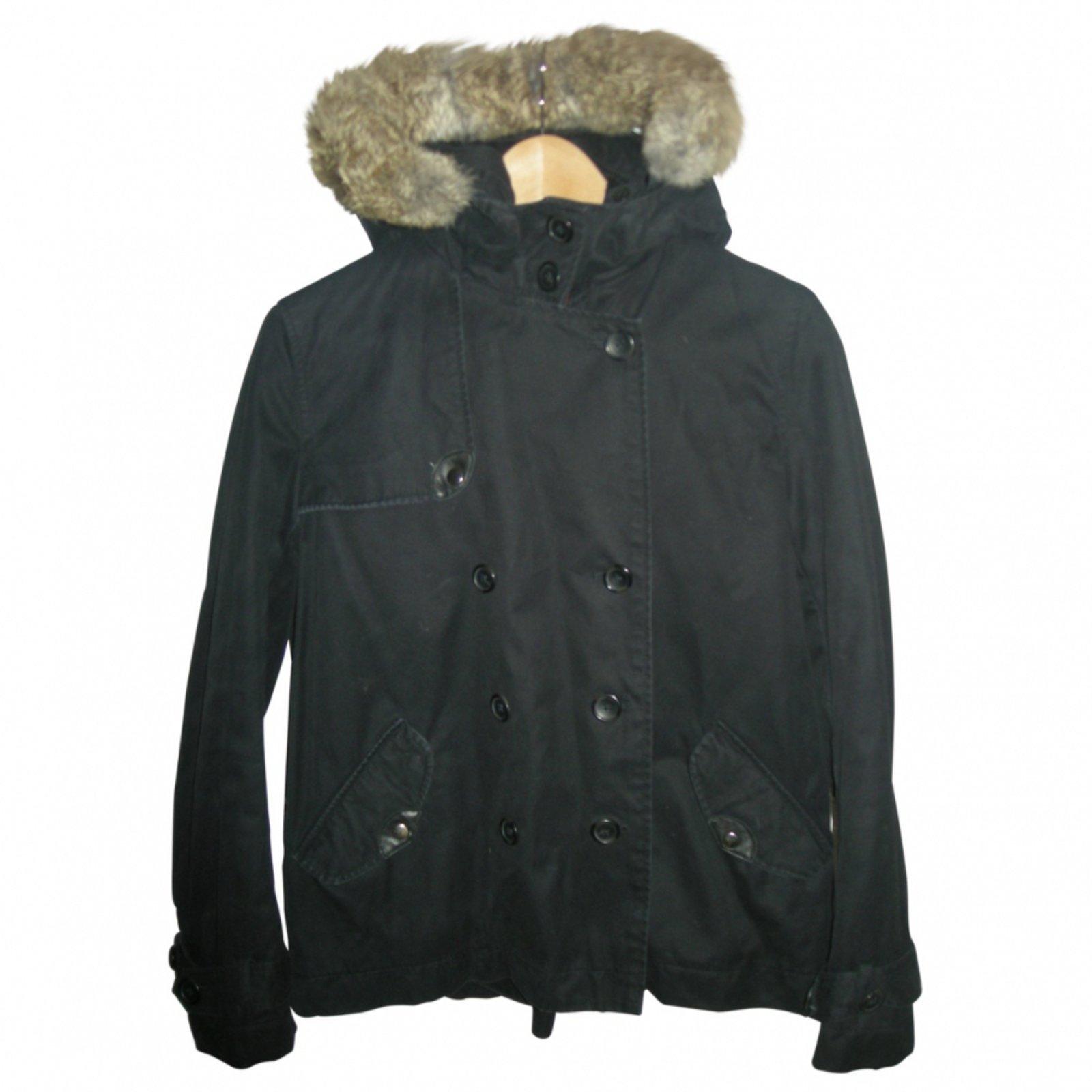 Manteaux comptoir des cotonniers manteaux polyester noir - Manteau peau retournee comptoir des cotonniers ...
