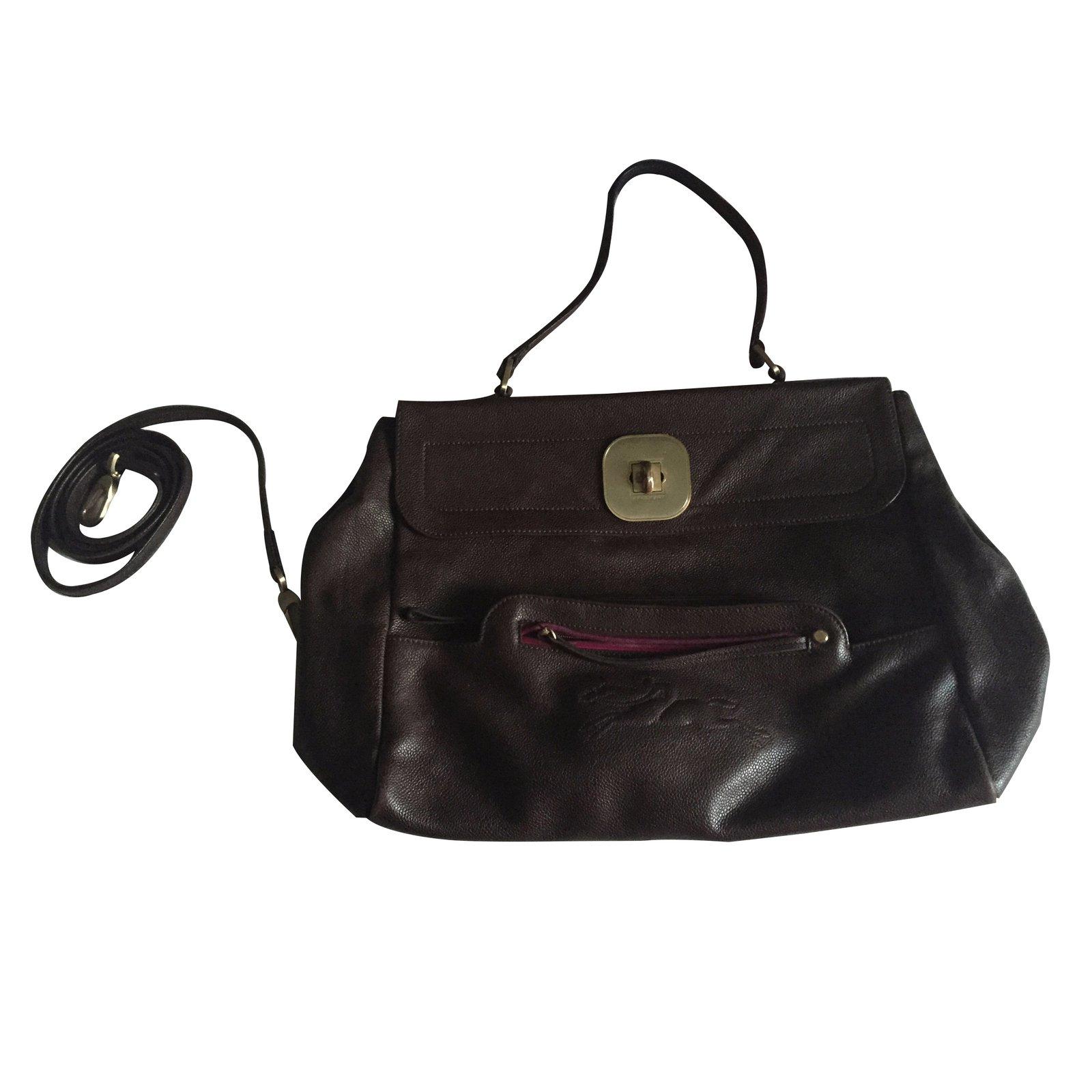 sac à main longchamp marron