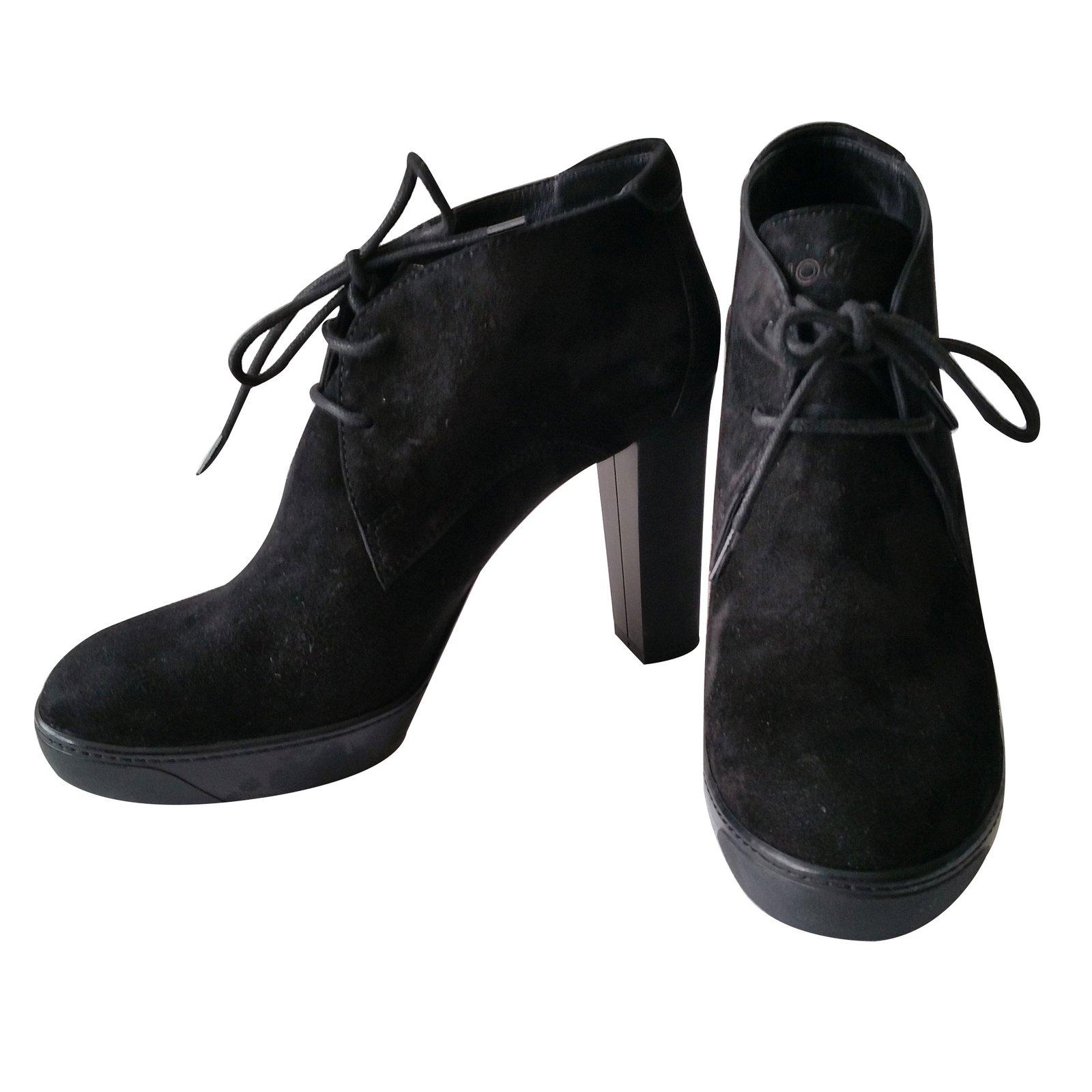 Hogan Ankle Boots Ankle Boots Deerskin Black ref.11751 - Joli Closet