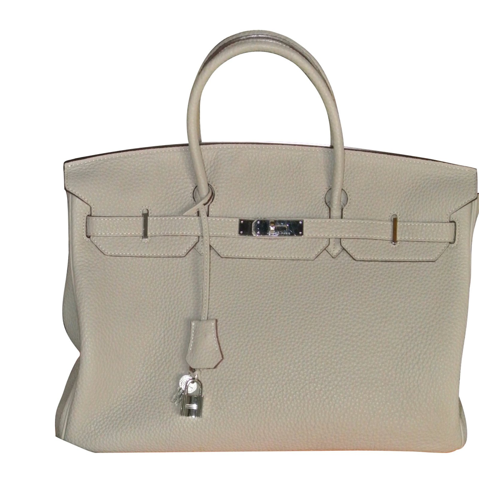 Hermès Handbags Handbags Leather Taupe ref.12333 - Joli Closet d7f495e2f286