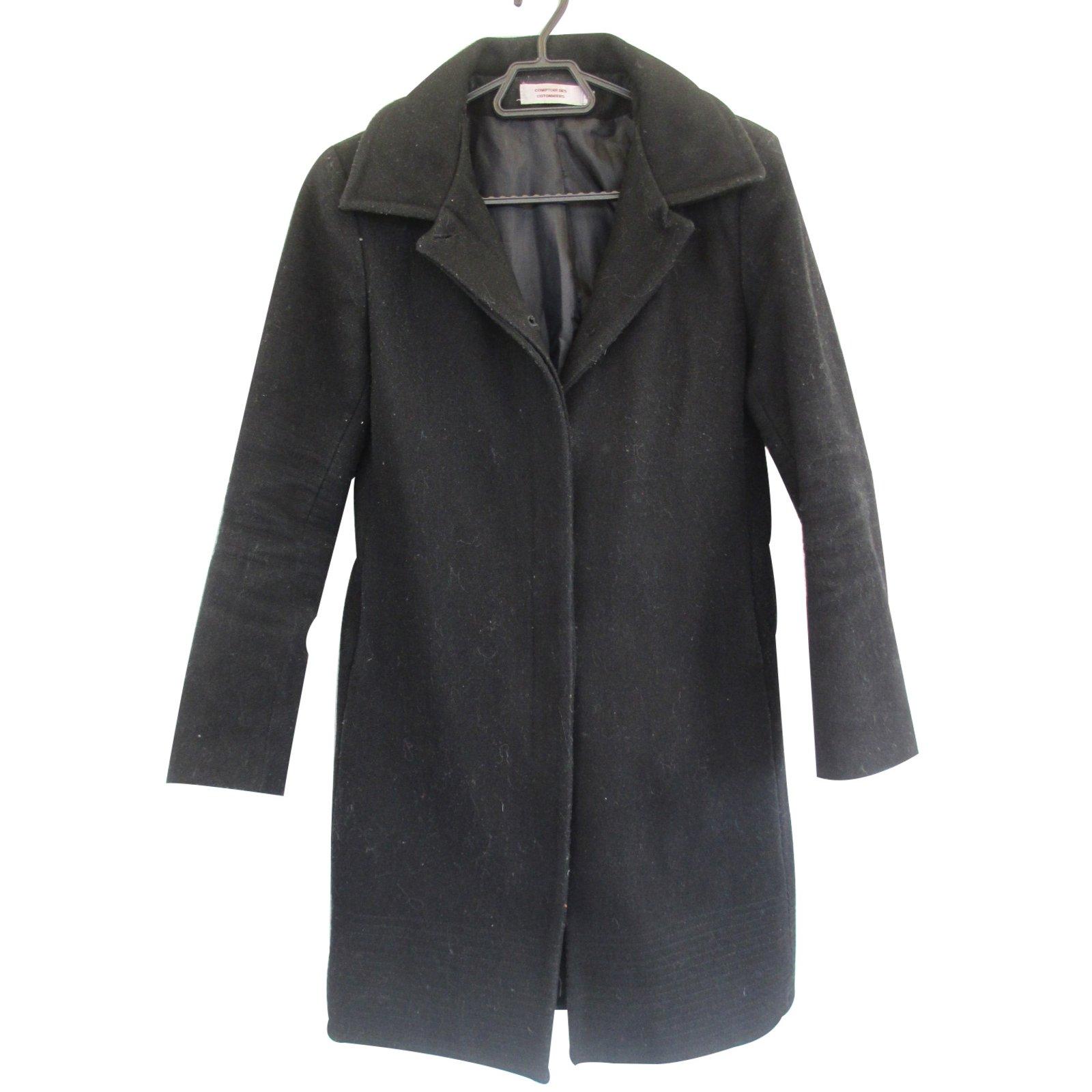 Manteaux comptoir des cotonniers manteau laine noir ref - Manteau peau retournee comptoir des cotonniers ...