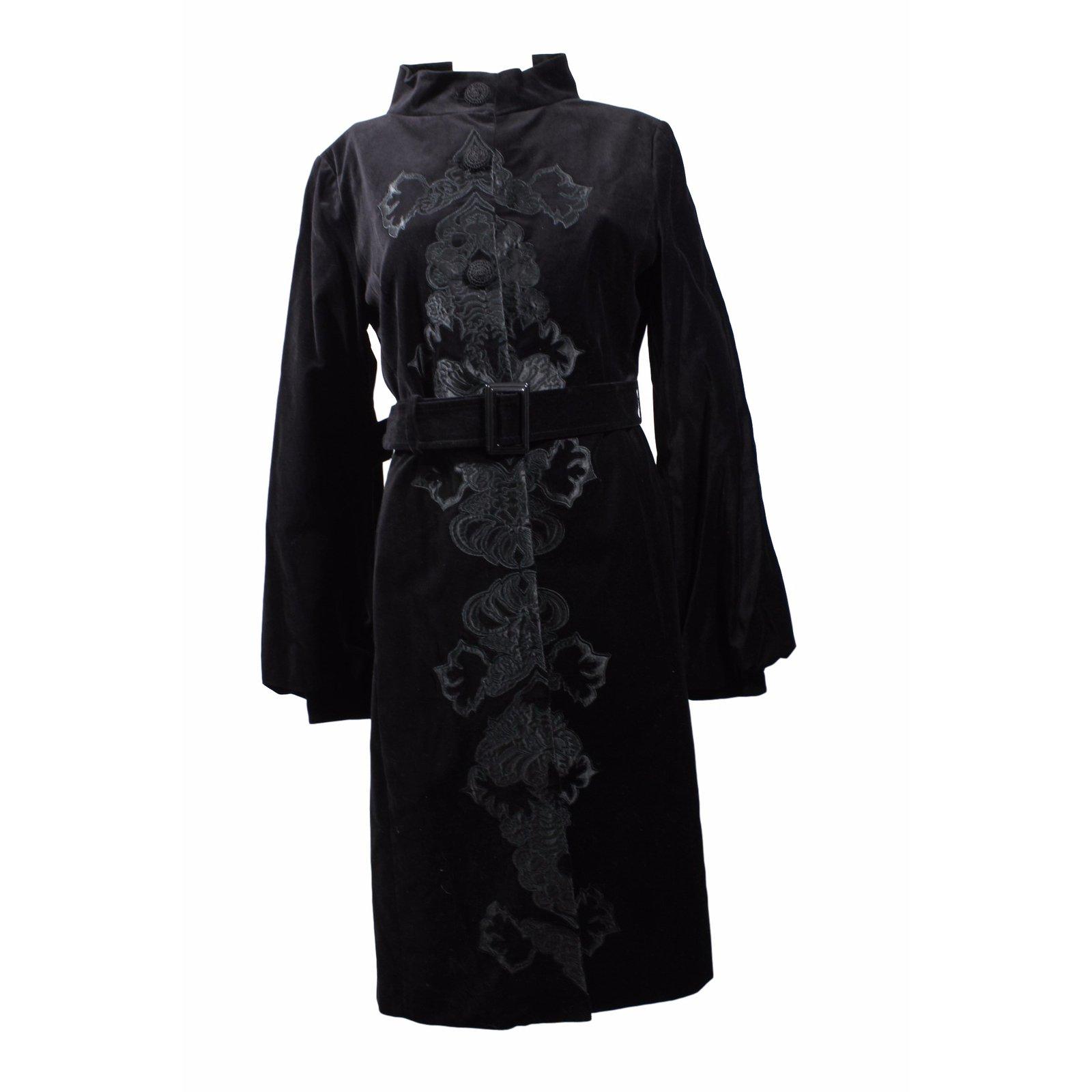 manteaux mango manteau velours style chinois coton noir. Black Bedroom Furniture Sets. Home Design Ideas
