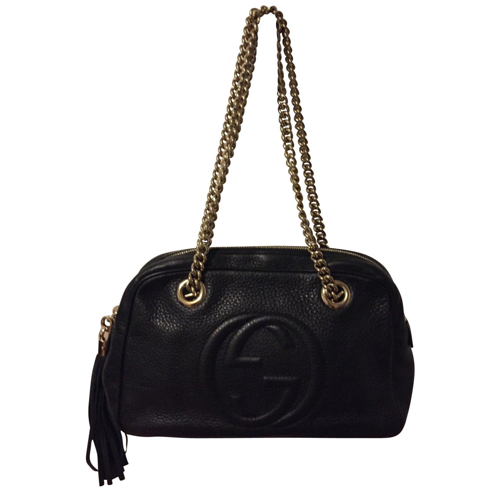 Sac à Main Bandoulière Gucci : Sacs ? main gucci soho cuir noir ref joli closet