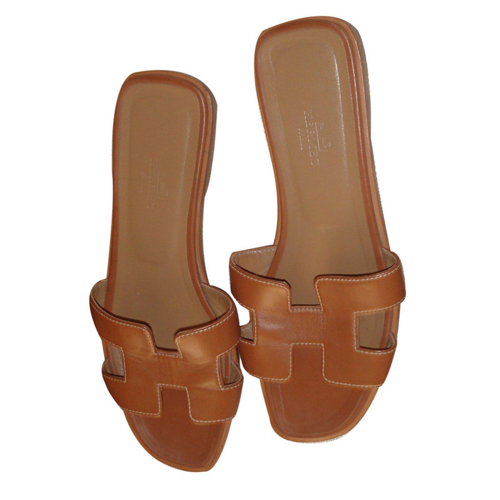 3dc0fafc1968 Sandales Hermès Sandales ORAN Cuir Marron ref.13057 - Joli Closet