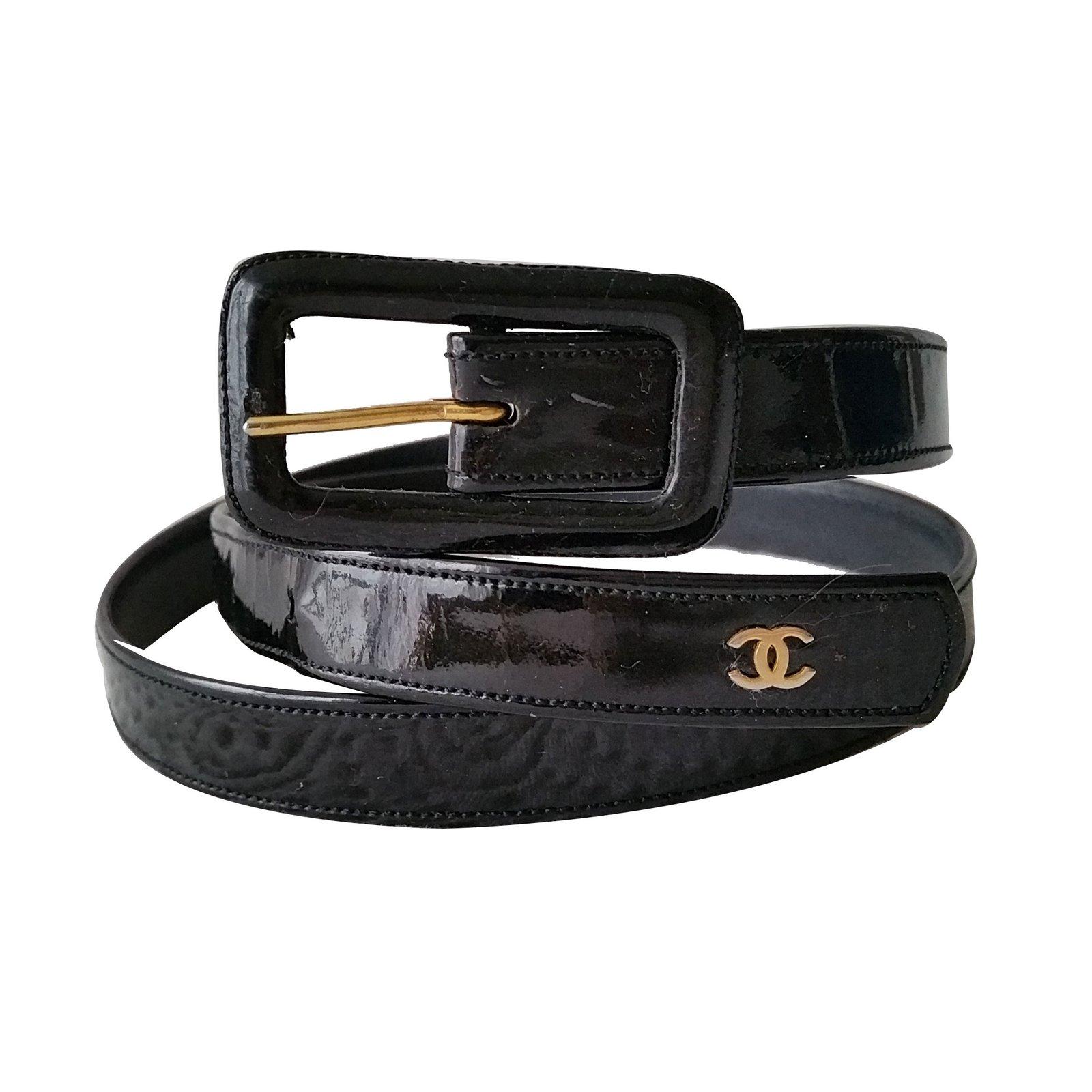 chanel belts belts patent leather black ref 13107 joli