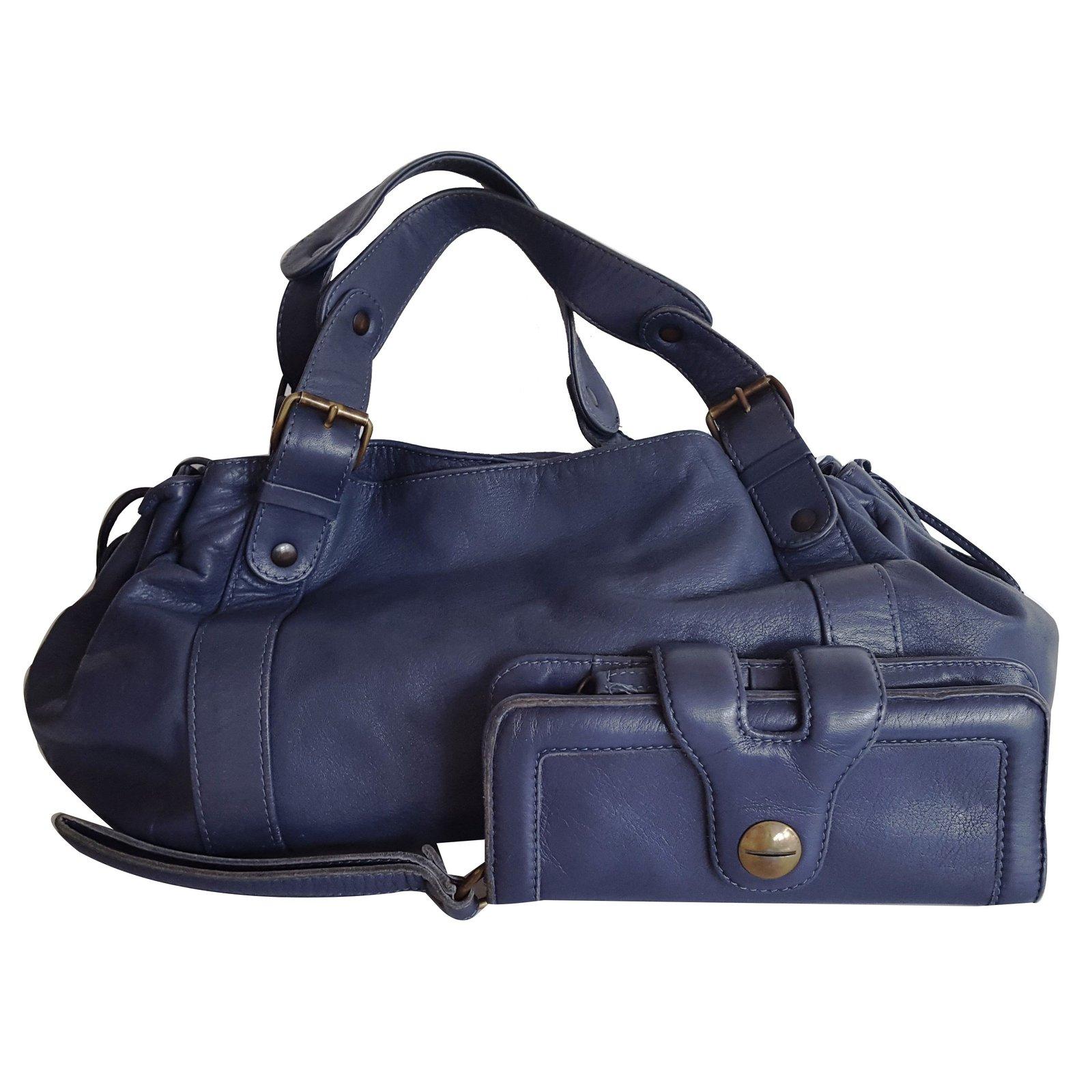sacs main gerard darel 24h cuir bleu joli closet. Black Bedroom Furniture Sets. Home Design Ideas