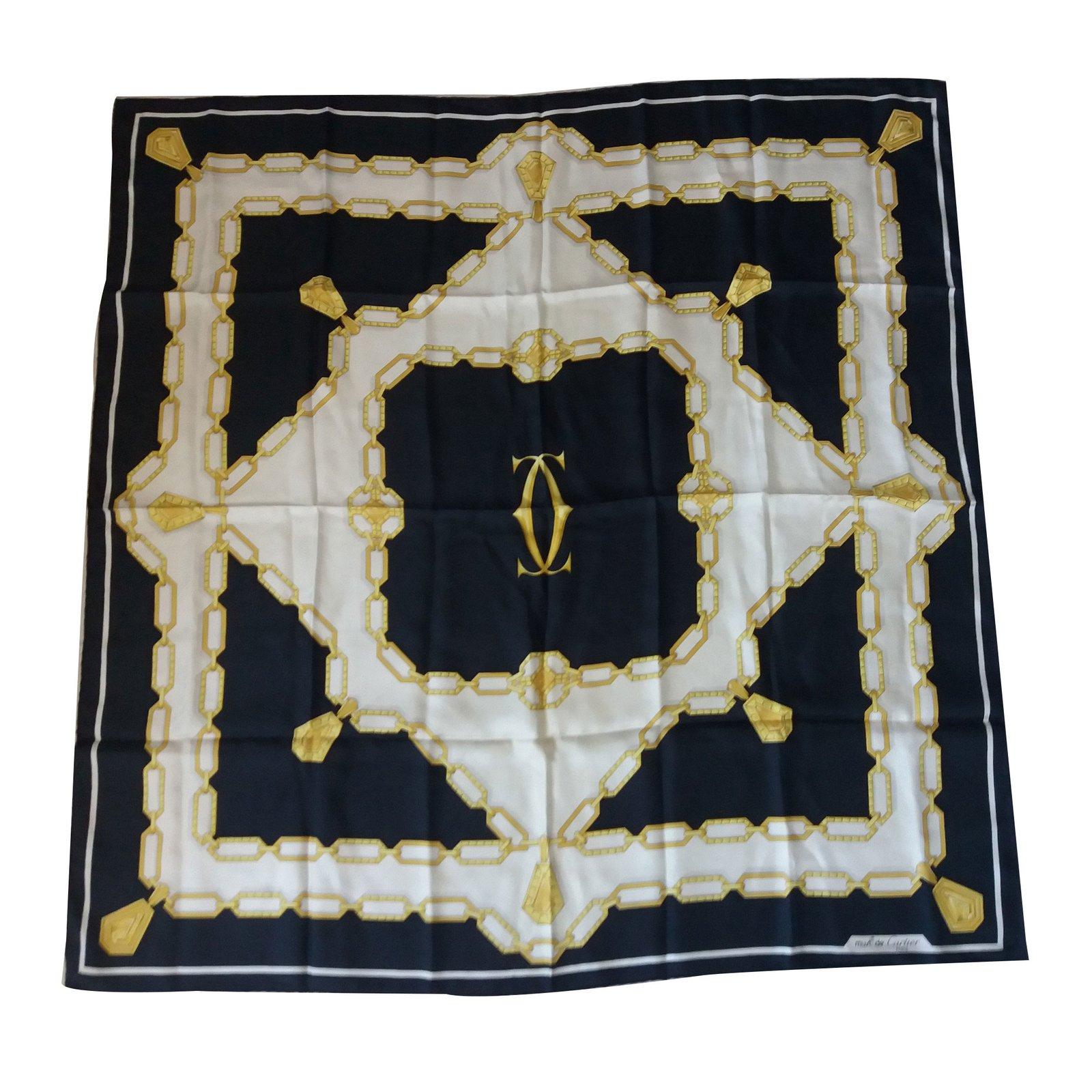 c225a0e0c0fd Foulards Cartier Carré de soie Soie Noir ref.13129 - Joli Closet