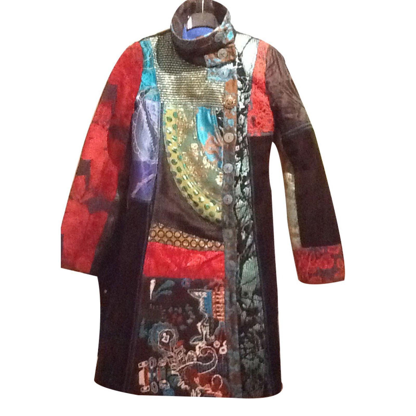 manteaux desigual chic coton multicolore joli closet. Black Bedroom Furniture Sets. Home Design Ideas