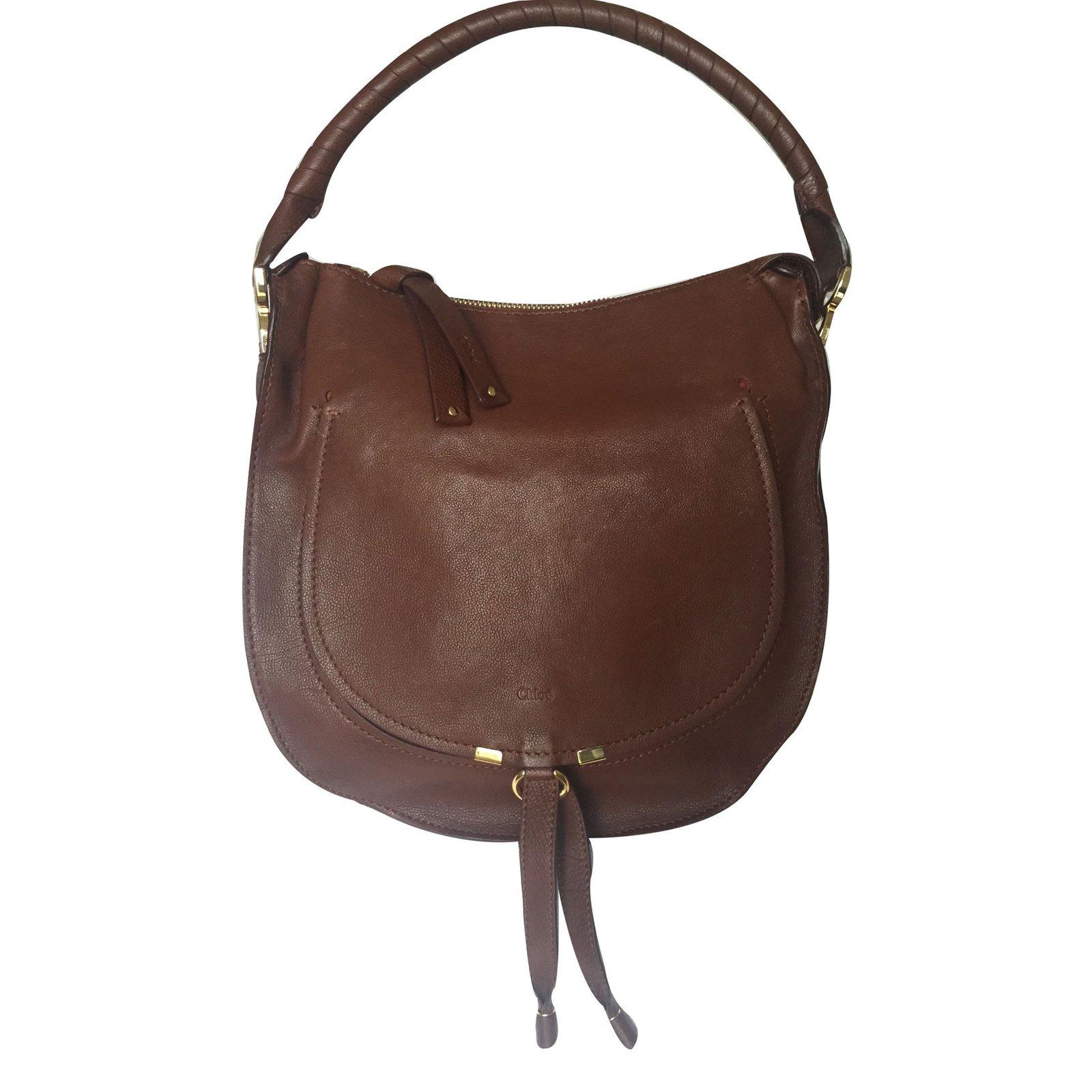 sacs main chlo marcie cuir marron joli closet. Black Bedroom Furniture Sets. Home Design Ideas