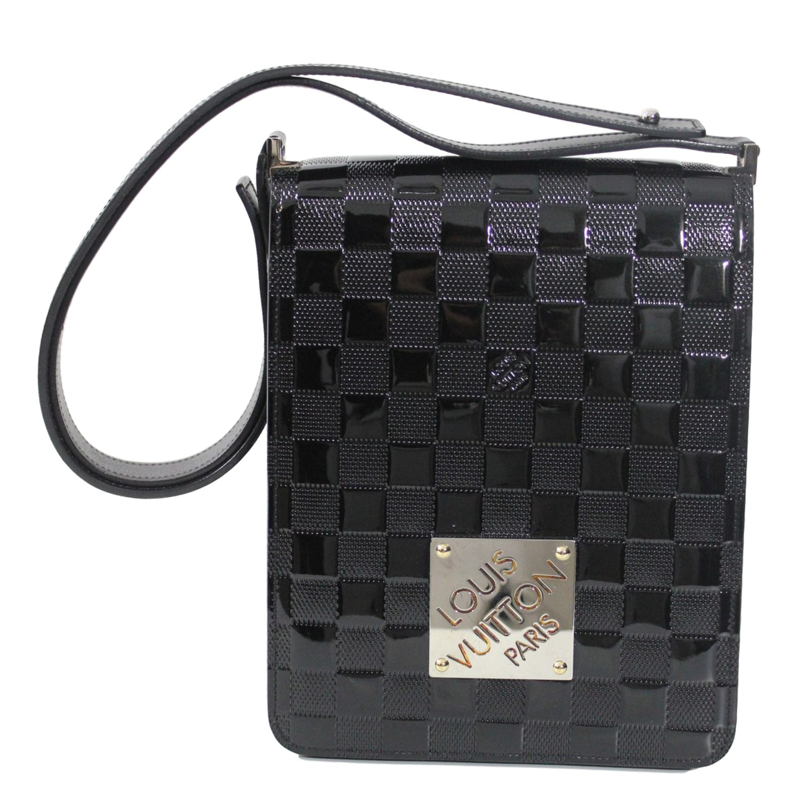 sacs main louis vuitton club damier cuir vernis noir ref. Black Bedroom Furniture Sets. Home Design Ideas