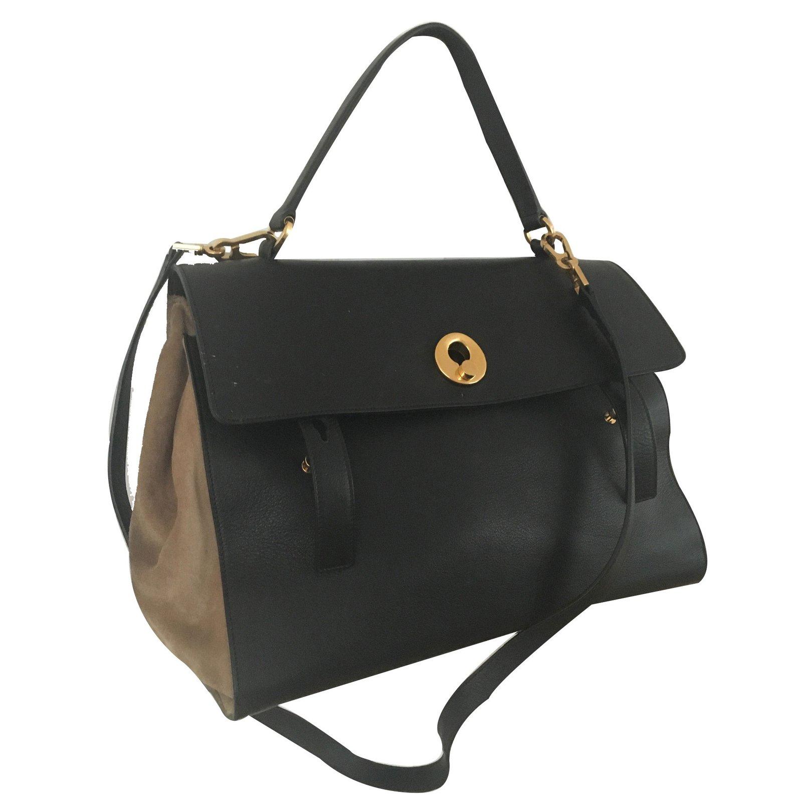 sacs main yves saint laurent muse 2 grand mod le cuir noir joli closet. Black Bedroom Furniture Sets. Home Design Ideas