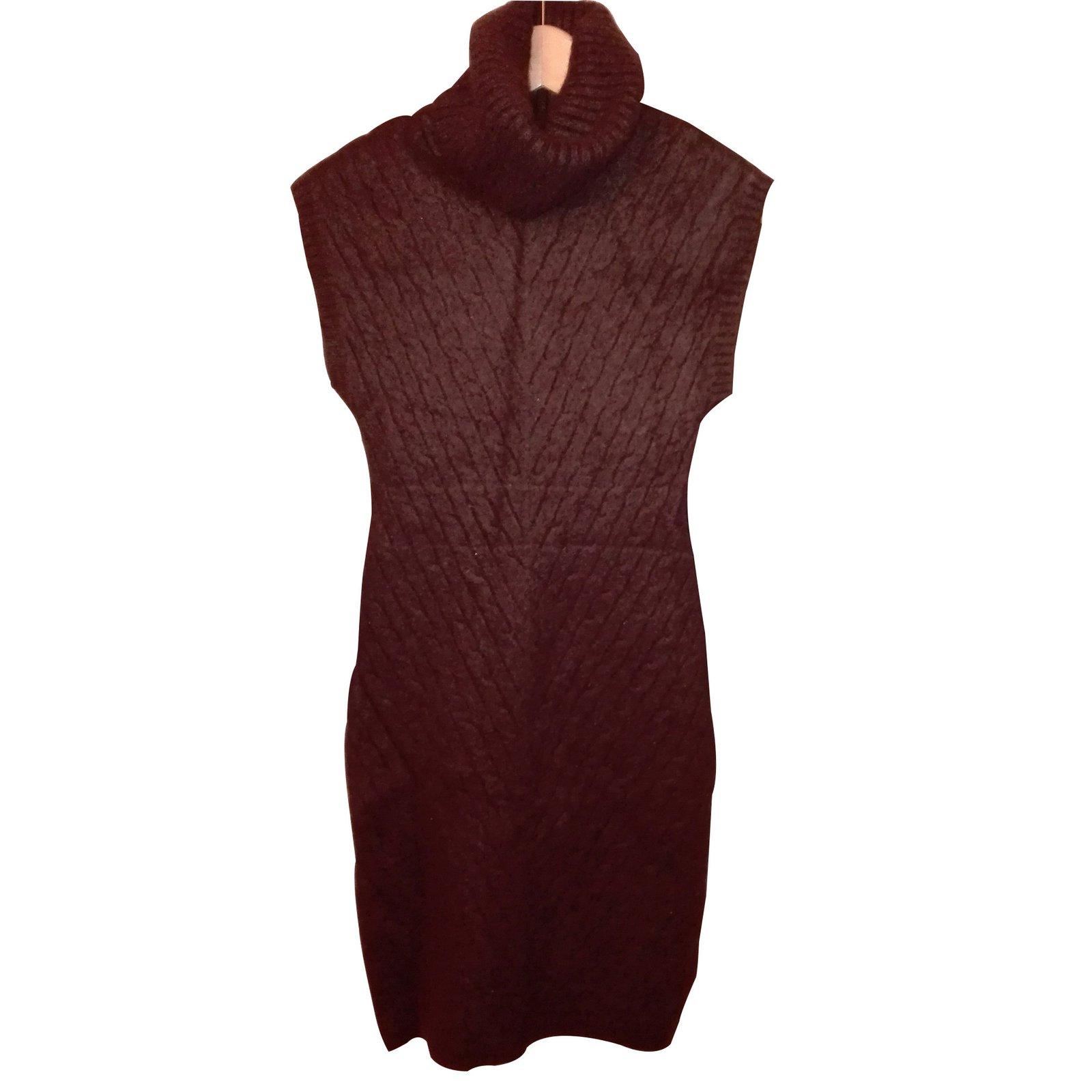 robes ralph lauren robe sans manche col roul laine marron joli closet. Black Bedroom Furniture Sets. Home Design Ideas