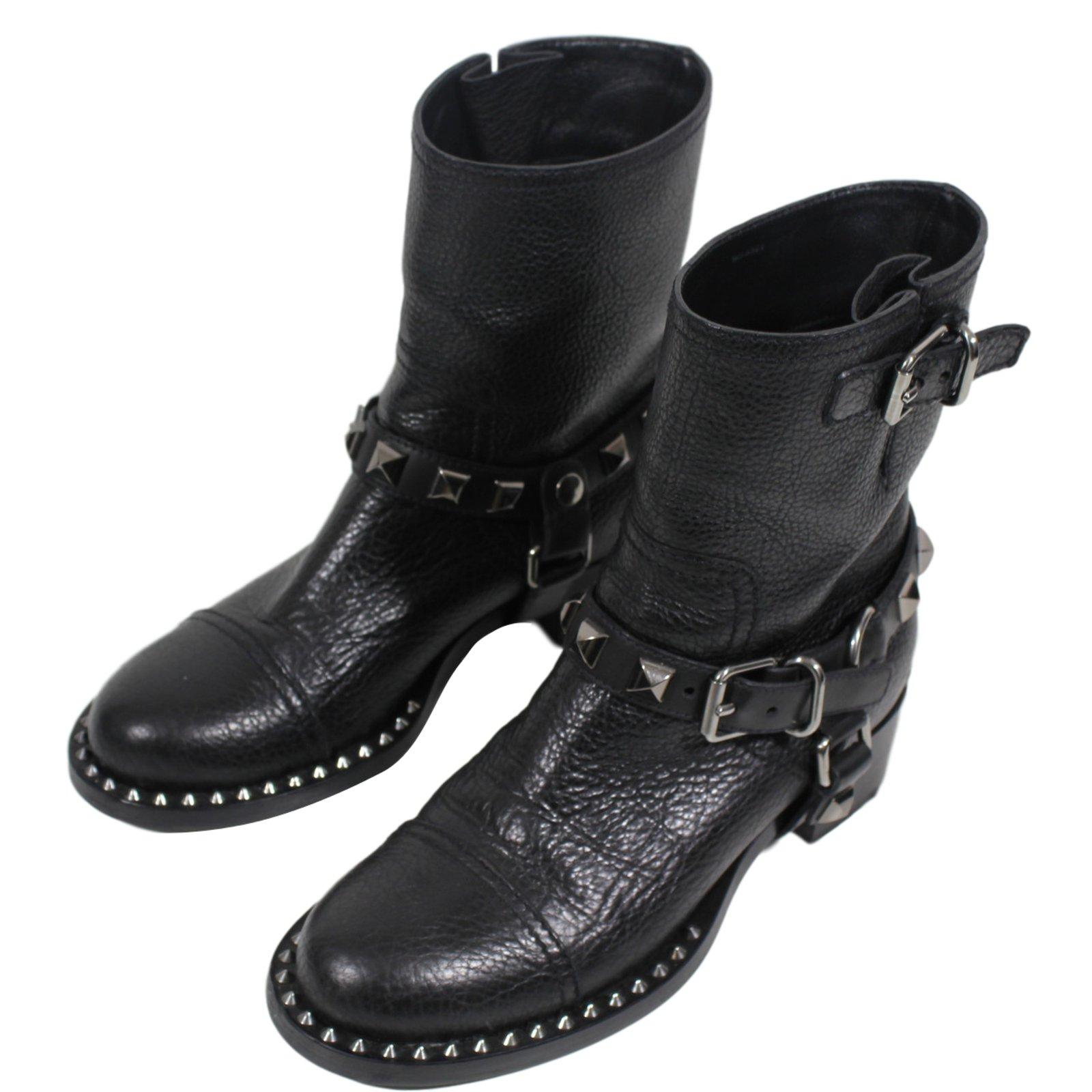 Bottes motardes en cuir, Noir