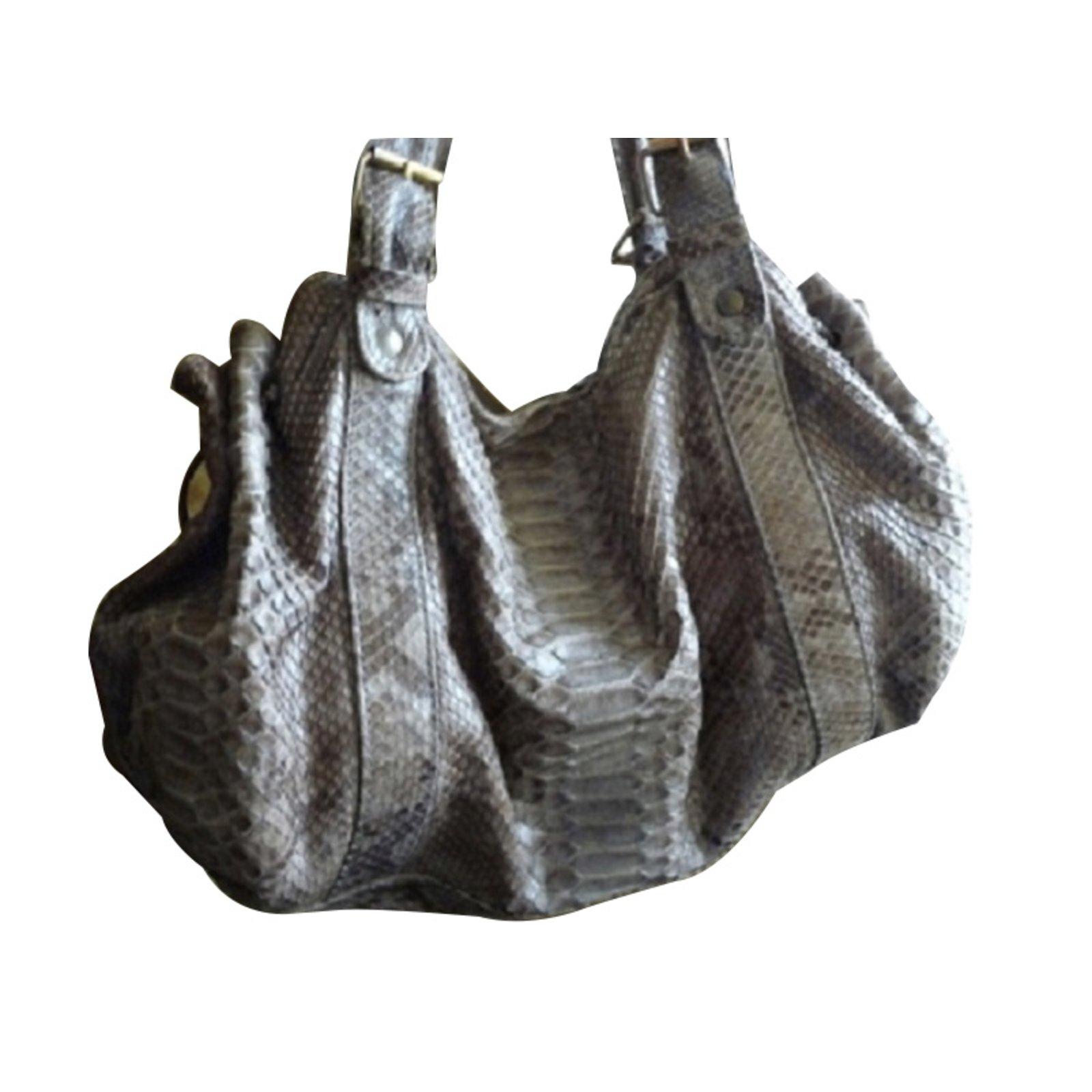 sacs main gerard darel python cuirs exotiques noisette. Black Bedroom Furniture Sets. Home Design Ideas