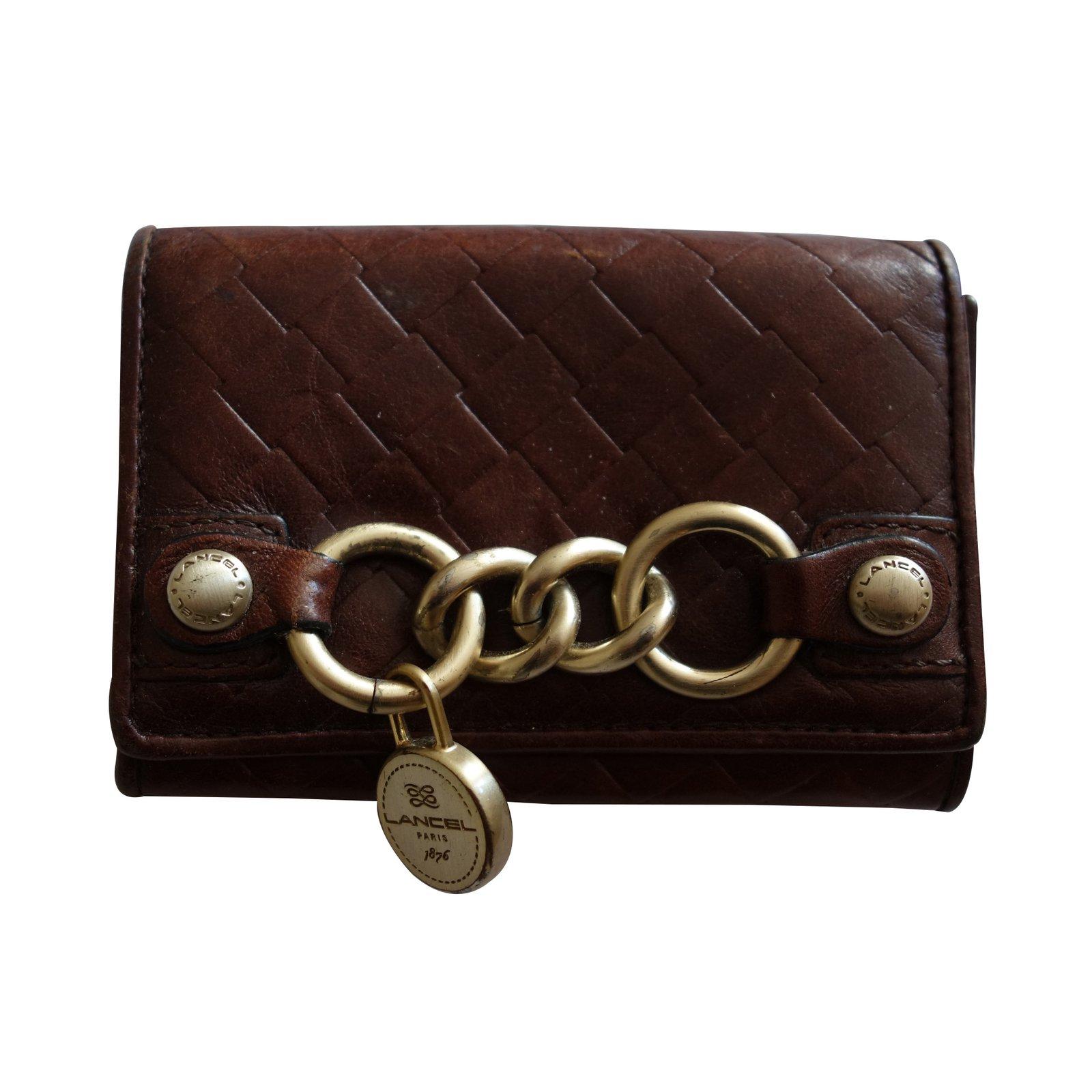 petite maroquinerie lancel porte monnaie en cuir cuir. Black Bedroom Furniture Sets. Home Design Ideas
