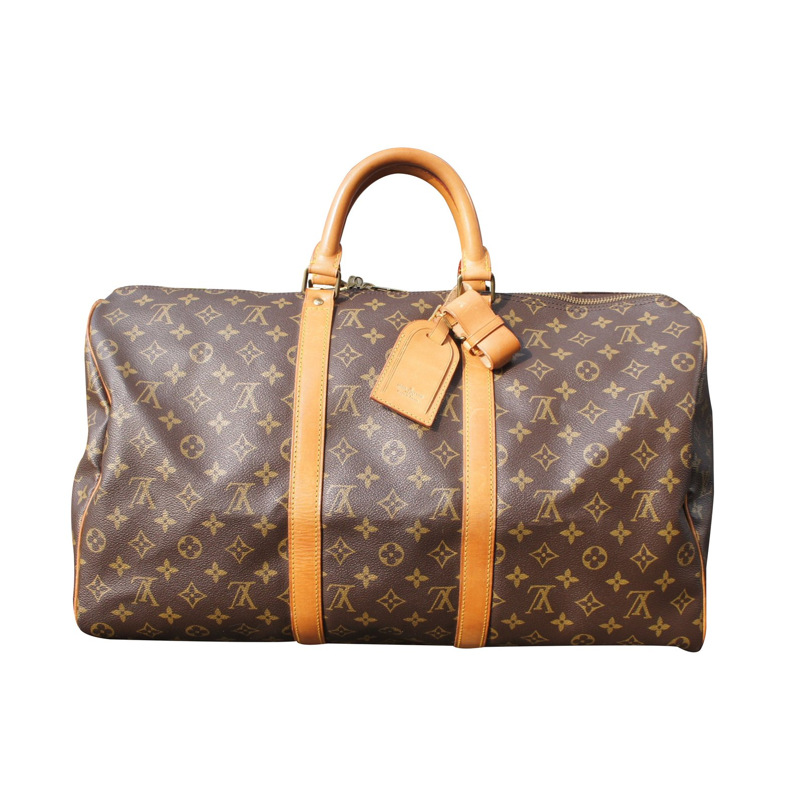 sacs de voyage louis vuitton keepall 50 cuir marron ref. Black Bedroom Furniture Sets. Home Design Ideas