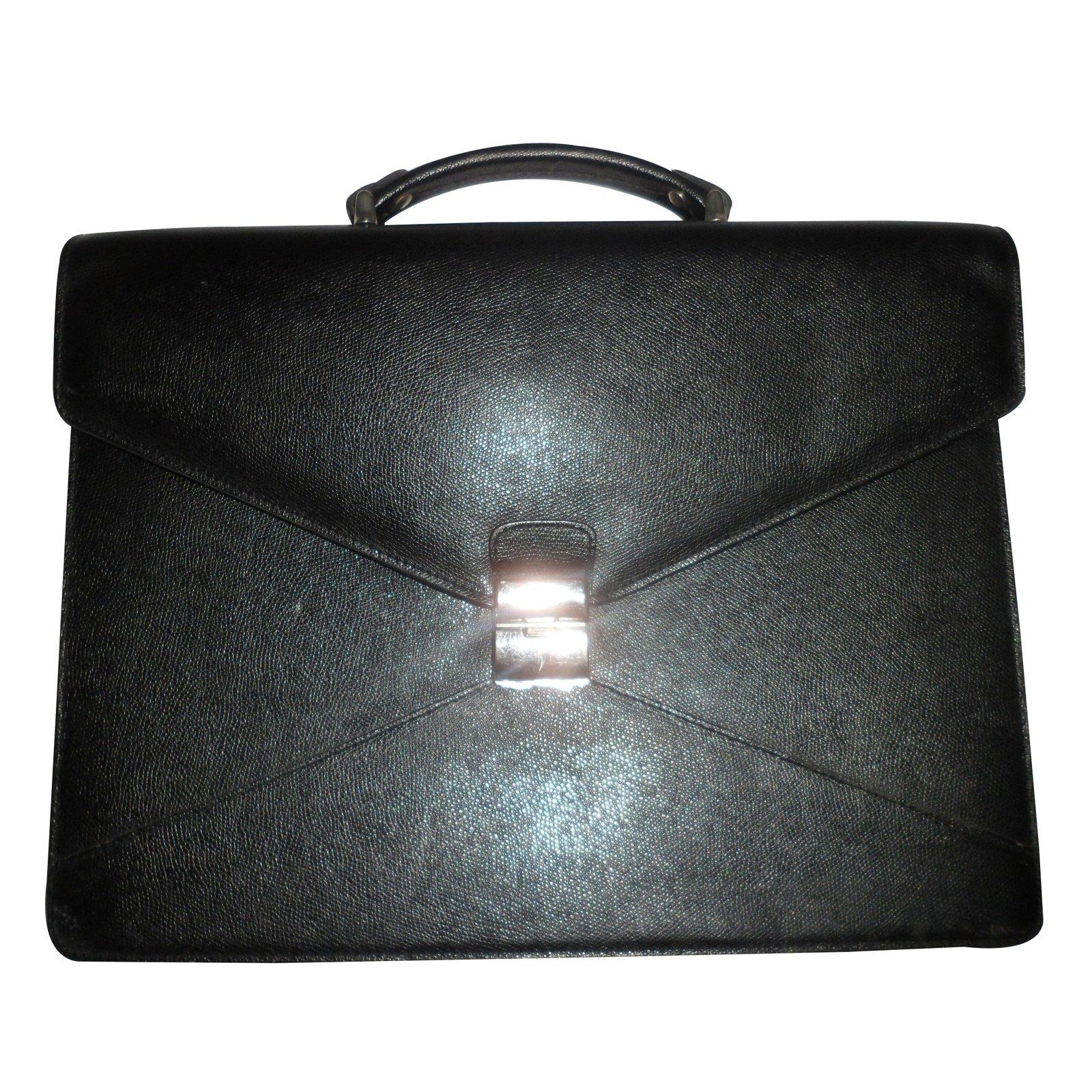 sacs lancel serviette porte document cuir noir joli closet. Black Bedroom Furniture Sets. Home Design Ideas