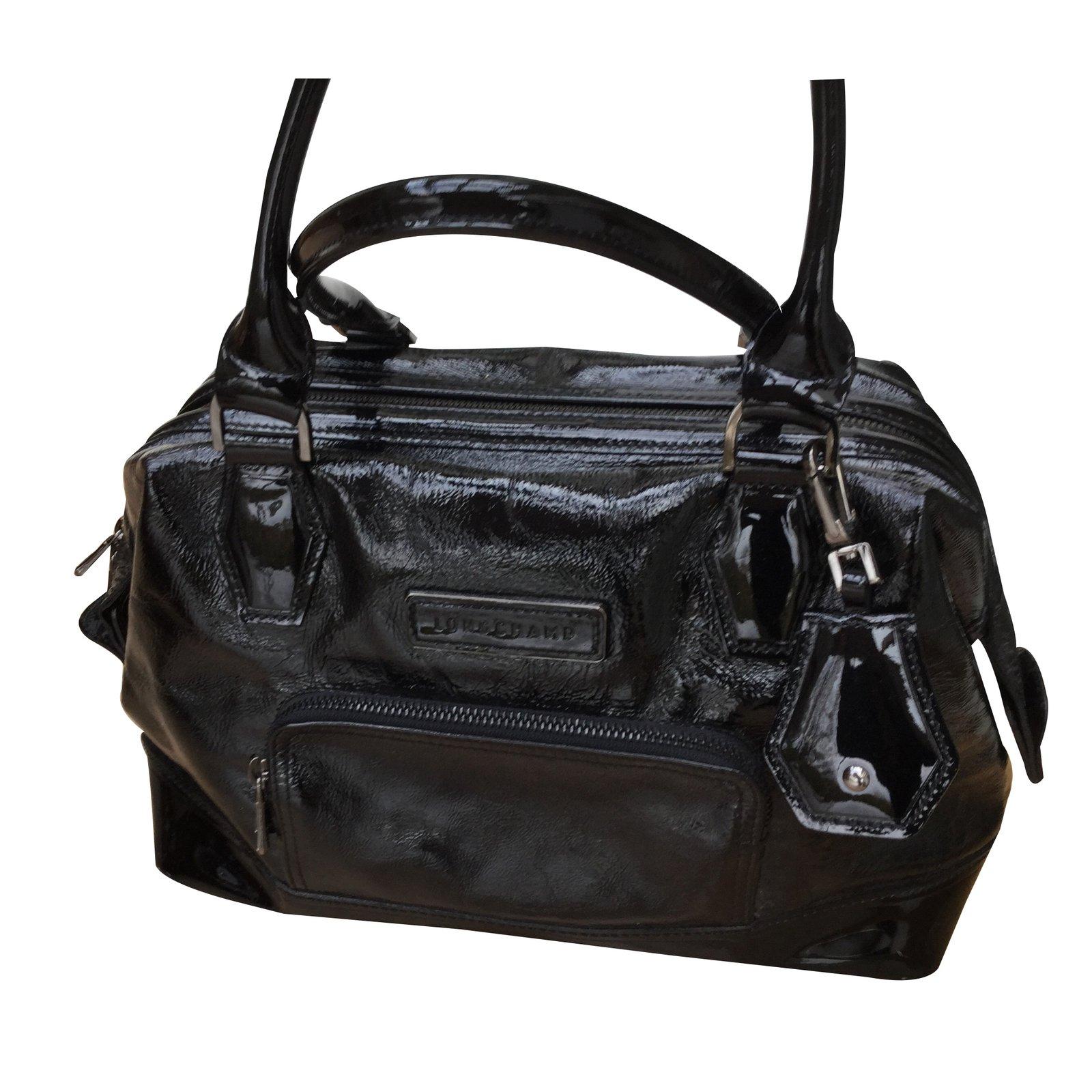 Longchamp Vernis Ref Cuir Legend 14722 Noir Sacs Main À qvEzCz