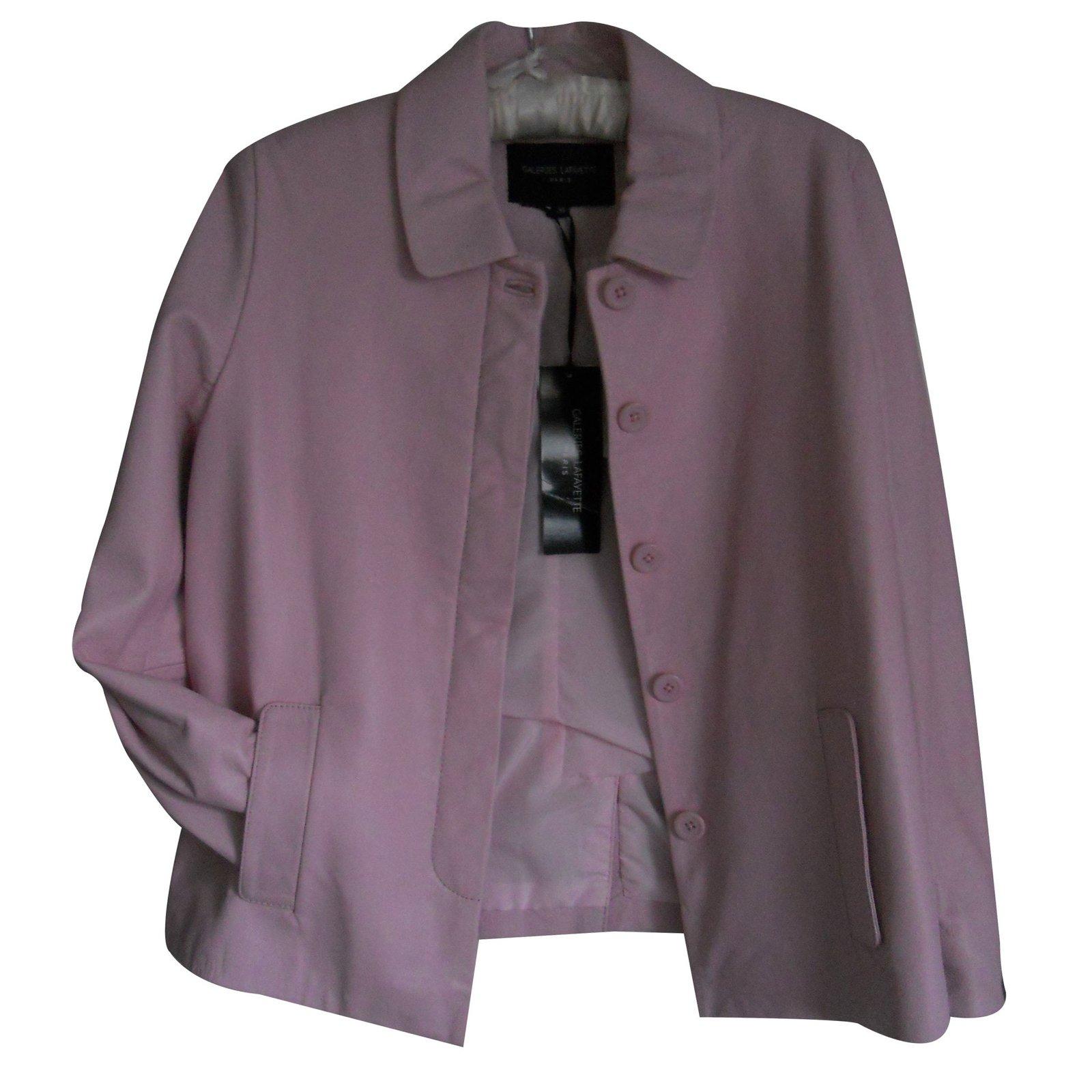 vestes autre marque veste cuir col rond cuir rose ref. Black Bedroom Furniture Sets. Home Design Ideas