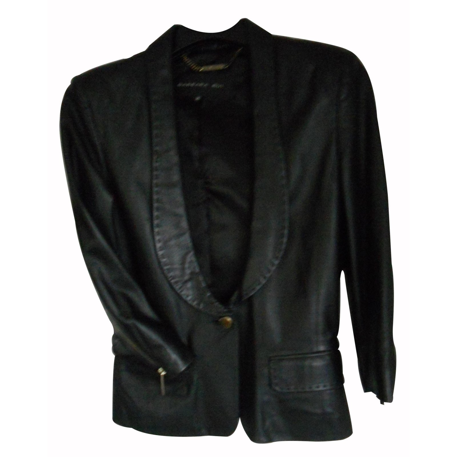 vestes barbara bui veste cuir noir manche 3 4 cuir noir. Black Bedroom Furniture Sets. Home Design Ideas