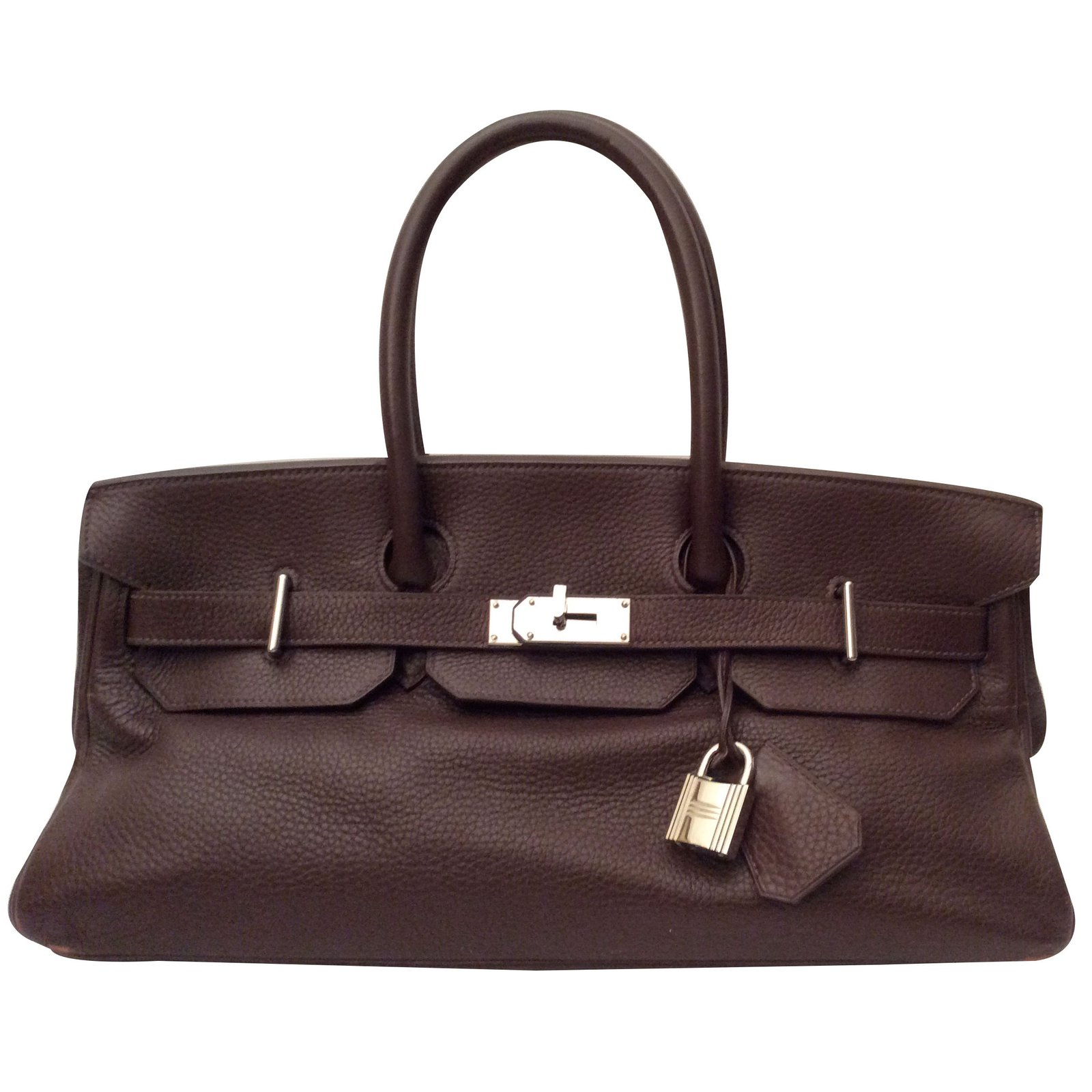 à main Hermes Birkin Shoulder en cuir marron