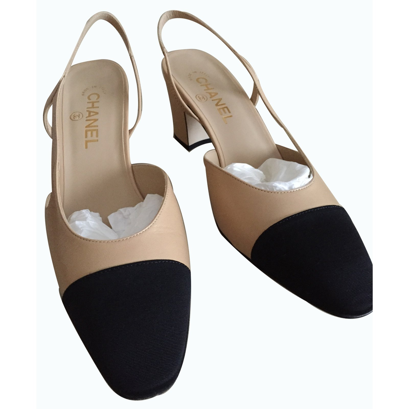 Escarpins Chanel Slingback Cuir Beige Ref 16026 Joli Closet
