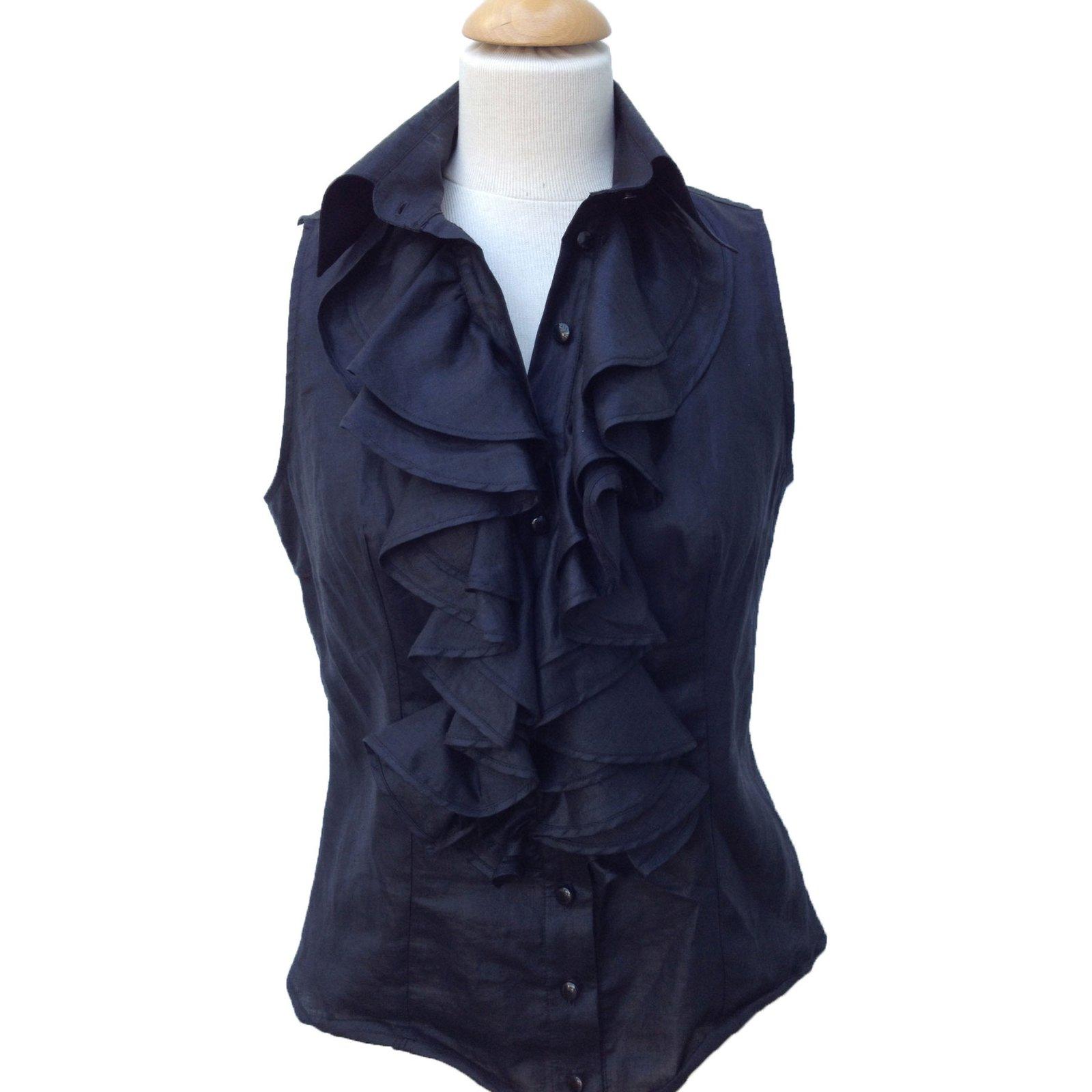 33c95931f35f6 Anne Fontaine Top Tops Linen Black ref.17095 - Joli Closet