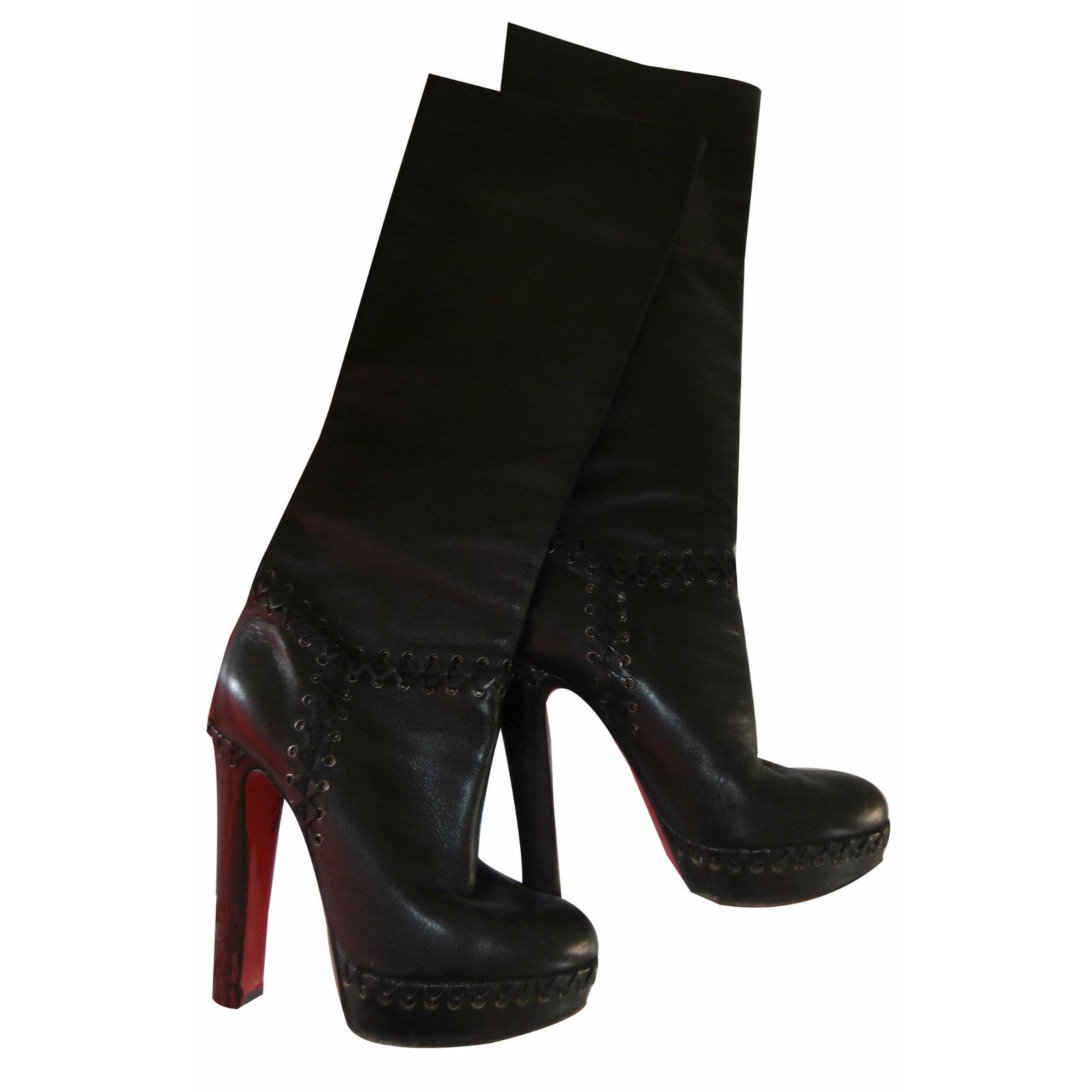 795bbe6b18e3 ... italy christian louboutin boots boots leather black ref.17269 2d371  4446a