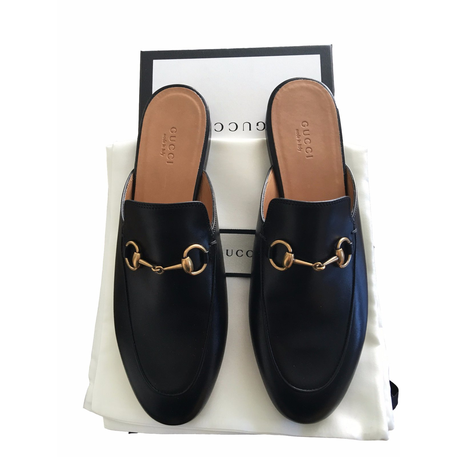 65d9c19f1f1 Gucci Gucci Princetown Leather Mules Mules Leather Black ref.17296 ...