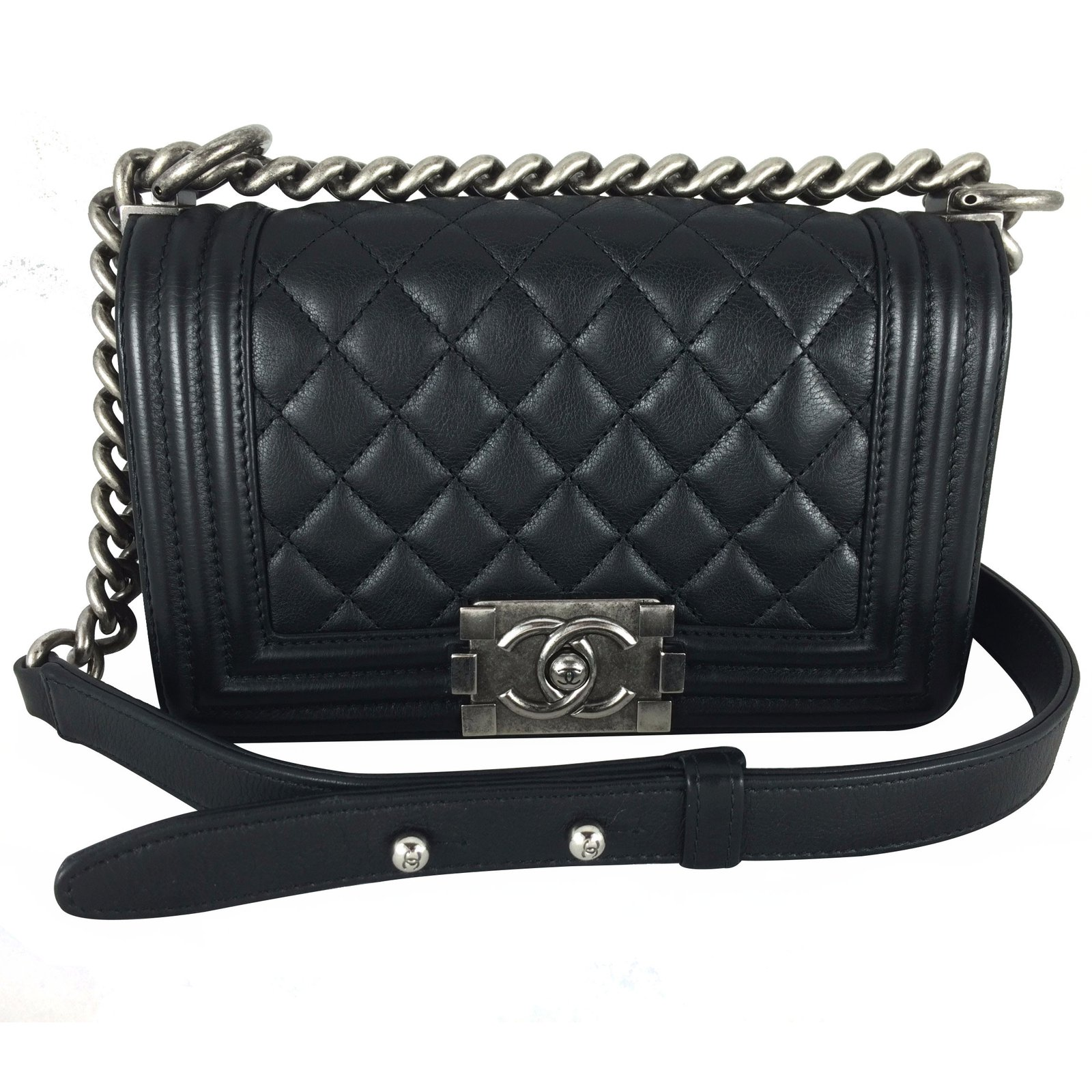 Loading zoom Chanel Boy small black Handbags Leather Black ref.17393 ... 5d769b039a