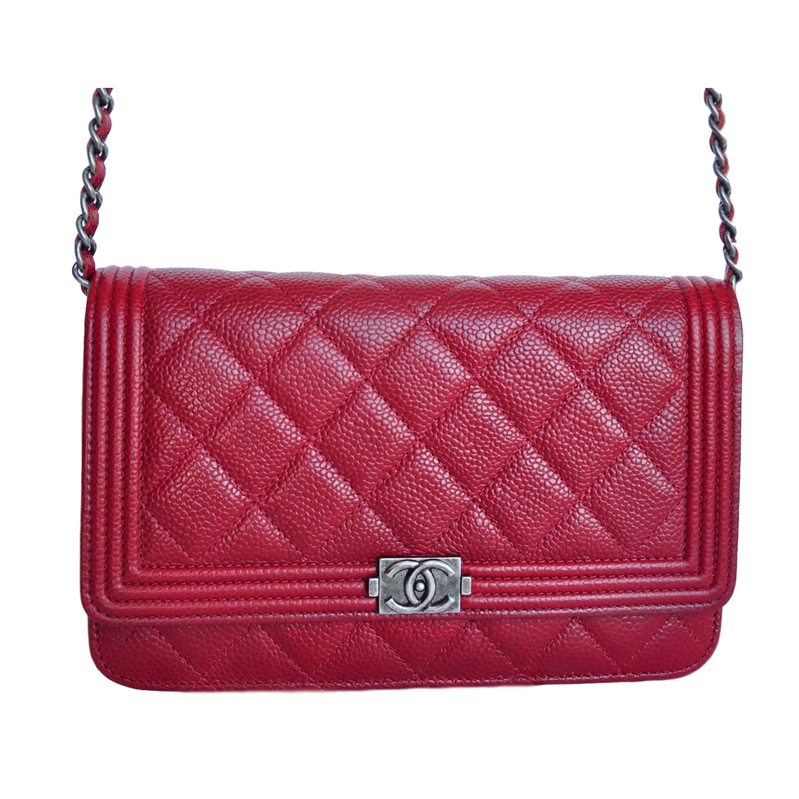 d85b572beb2f Chanel WOC Wallet On Chain Clutch bags Leather Dark red ref.17444 - Joli  Closet
