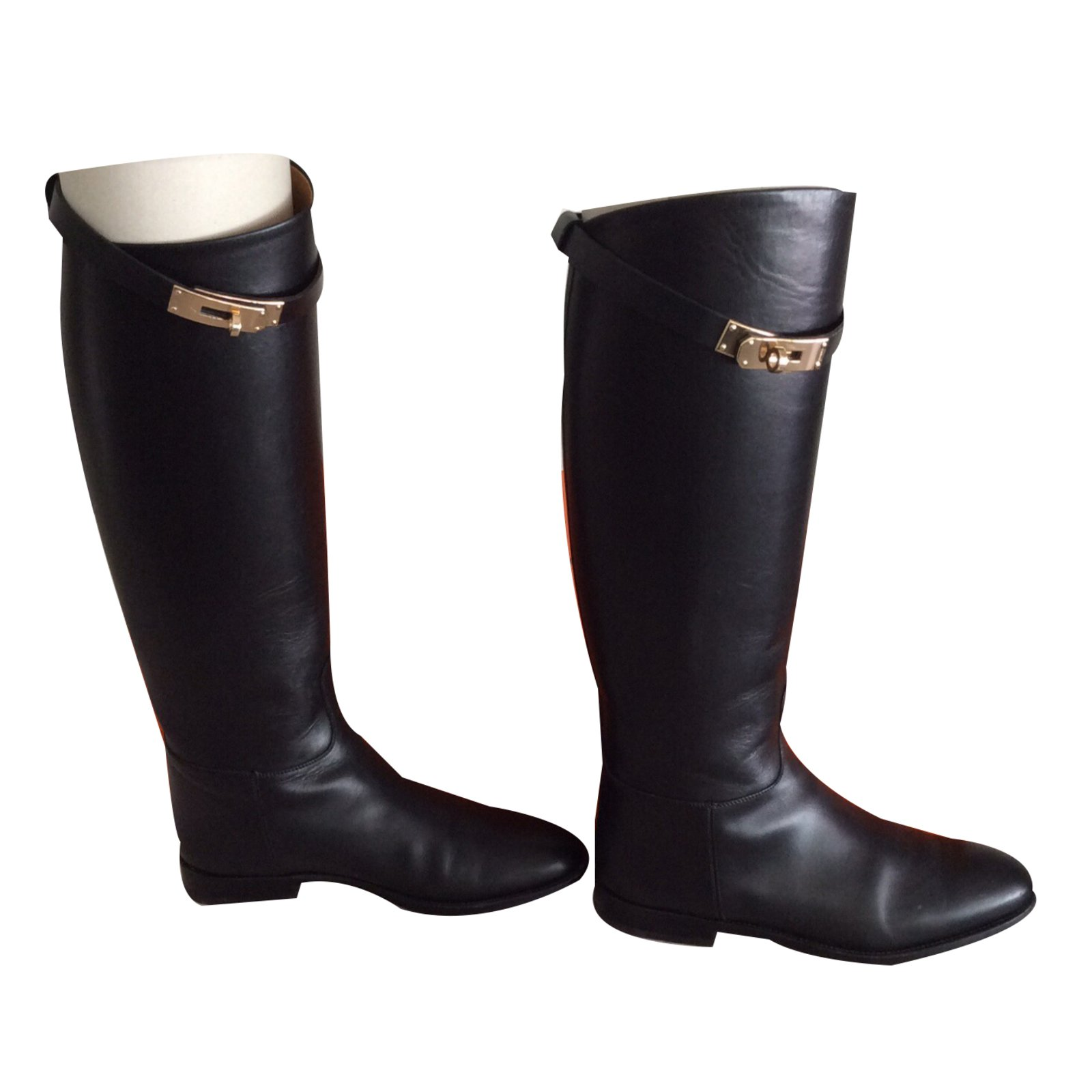 Hermès Hermes Jumping Boots Boots Leather Black ref.17459