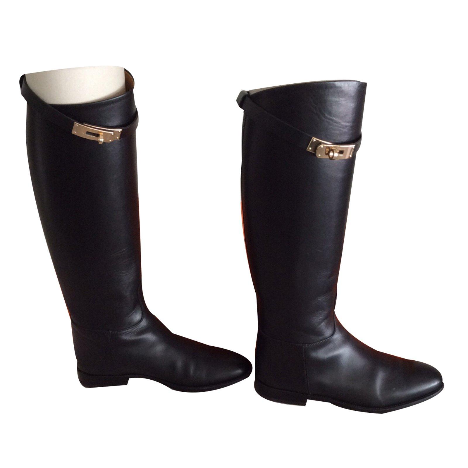 Bottes Hermès Paire de bottes Jumping Cuir Noir ref.17459