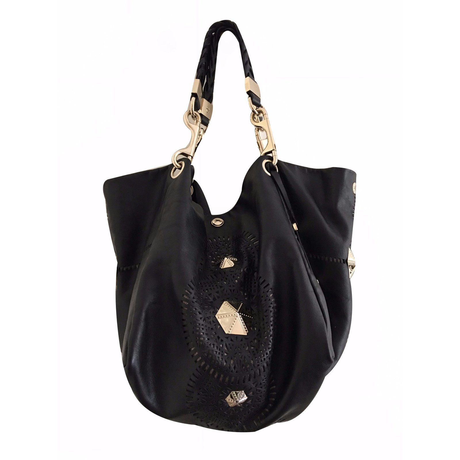 6664c7d5b7e Jimmy Choo Lohla m perforated pyramid bag Handbags Leather Black ref.17952