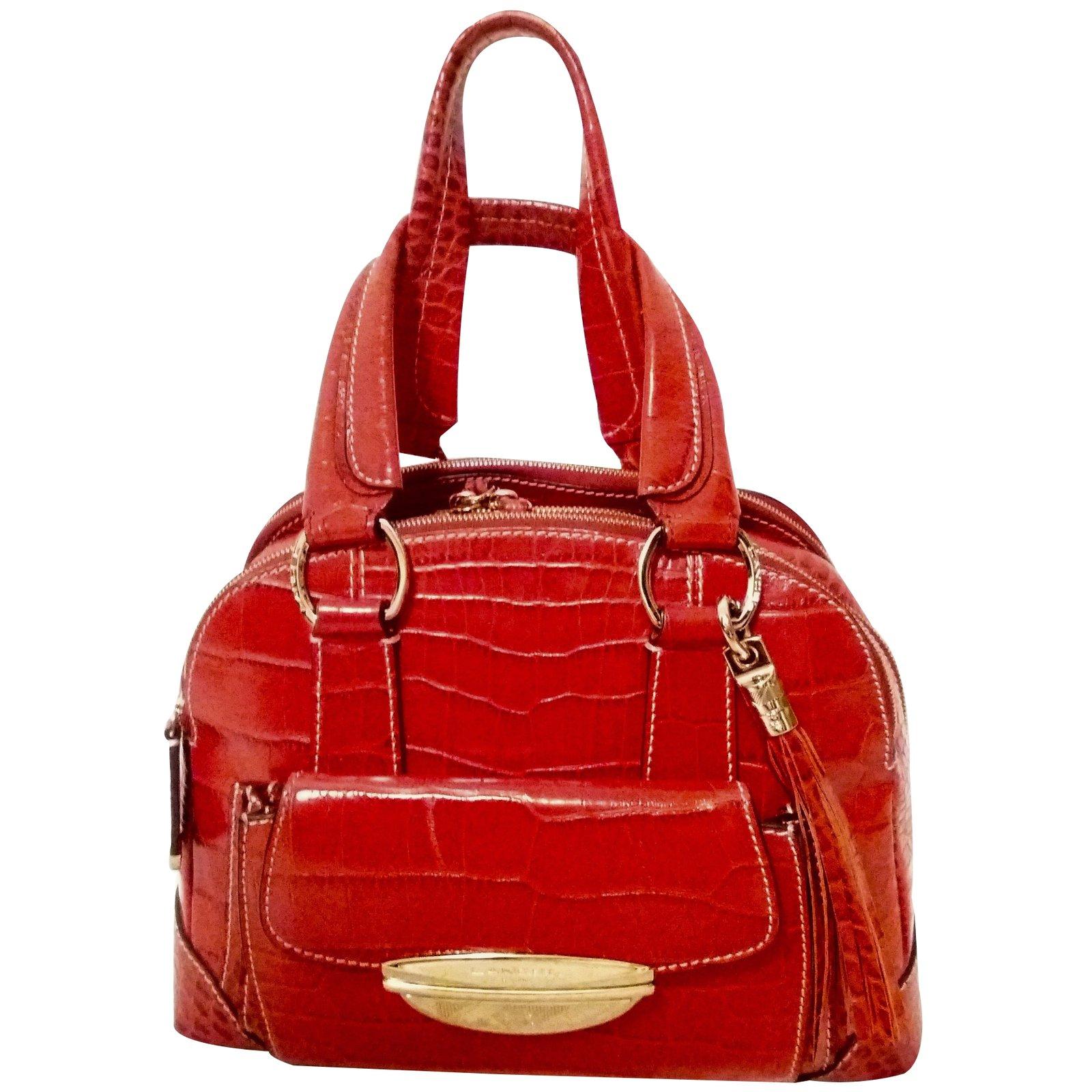 sacs main lancel adjani cuir rouge joli closet. Black Bedroom Furniture Sets. Home Design Ideas