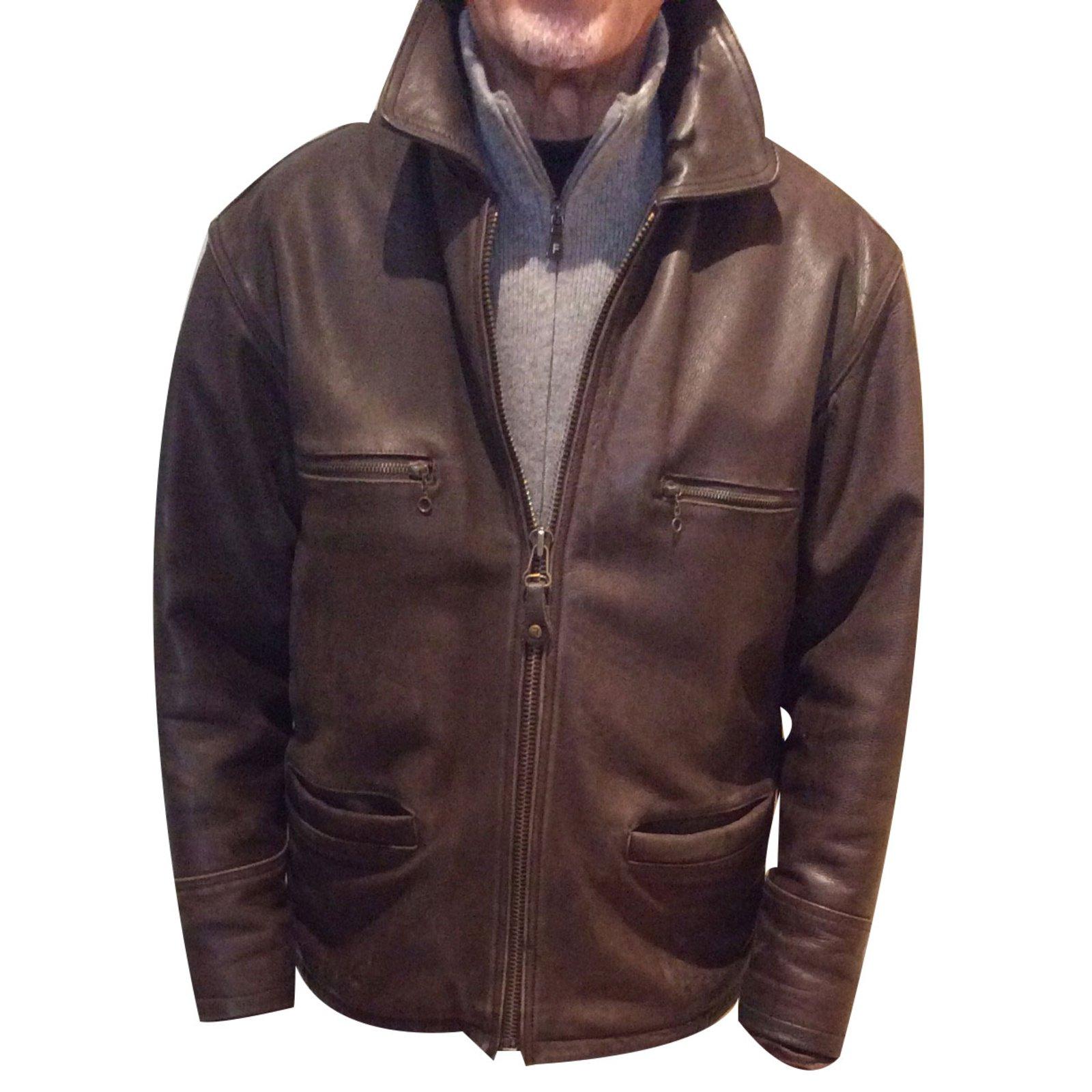 Veste en croute de cuir homme